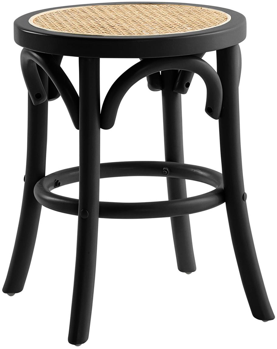 Kruk Franz met Weens vlechtwerk, Zitvlak: rotan, Frame: massief gelakt berkenhout, Zitvlak: rotankleurig. Frame: zwart gelakt berkenhout, Ø 36 x H 45 cm