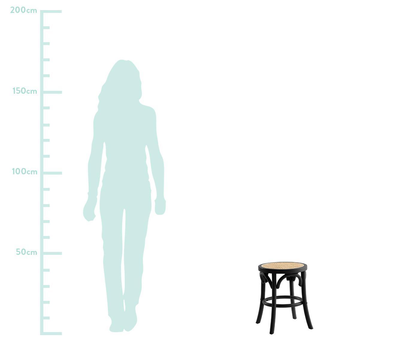 Hocker Franz mit Wiener Geflecht, Sitzfläche: Rattan, Gestell: Massives Birkenholz, lack, Sitzfläche: RattanGestell: Birkenholz, schwarz lackiert, Ø 36 x H 45 cm