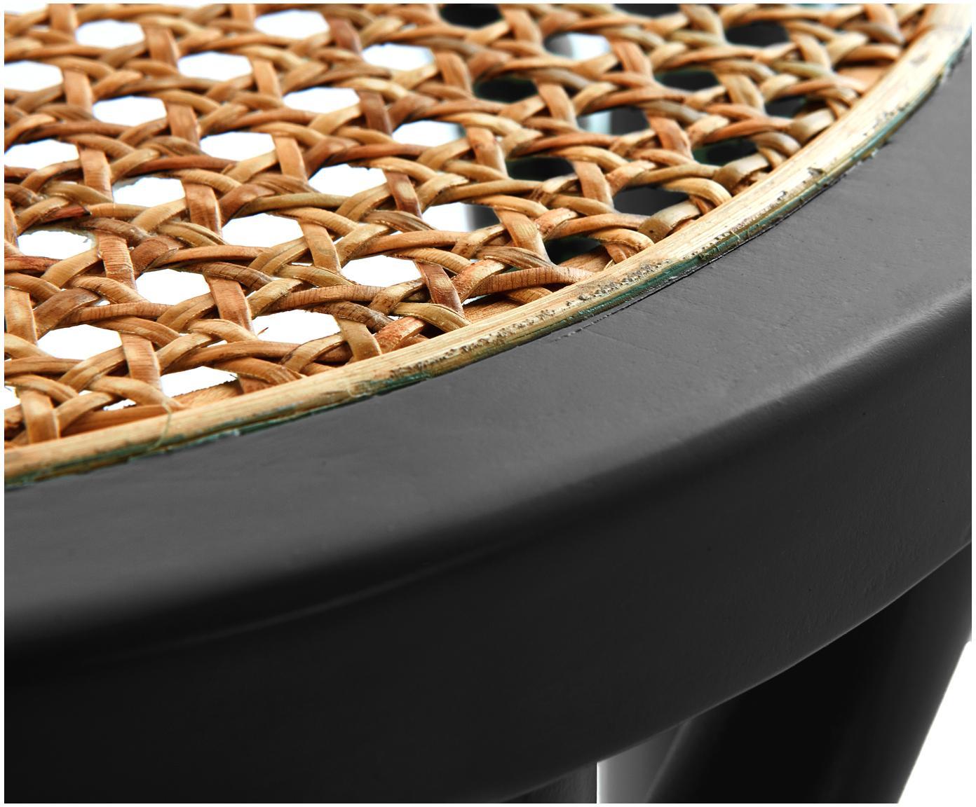 Tabouret en cannage Franz, Assise: rotin Structure: bois de bouleau, noir laqué
