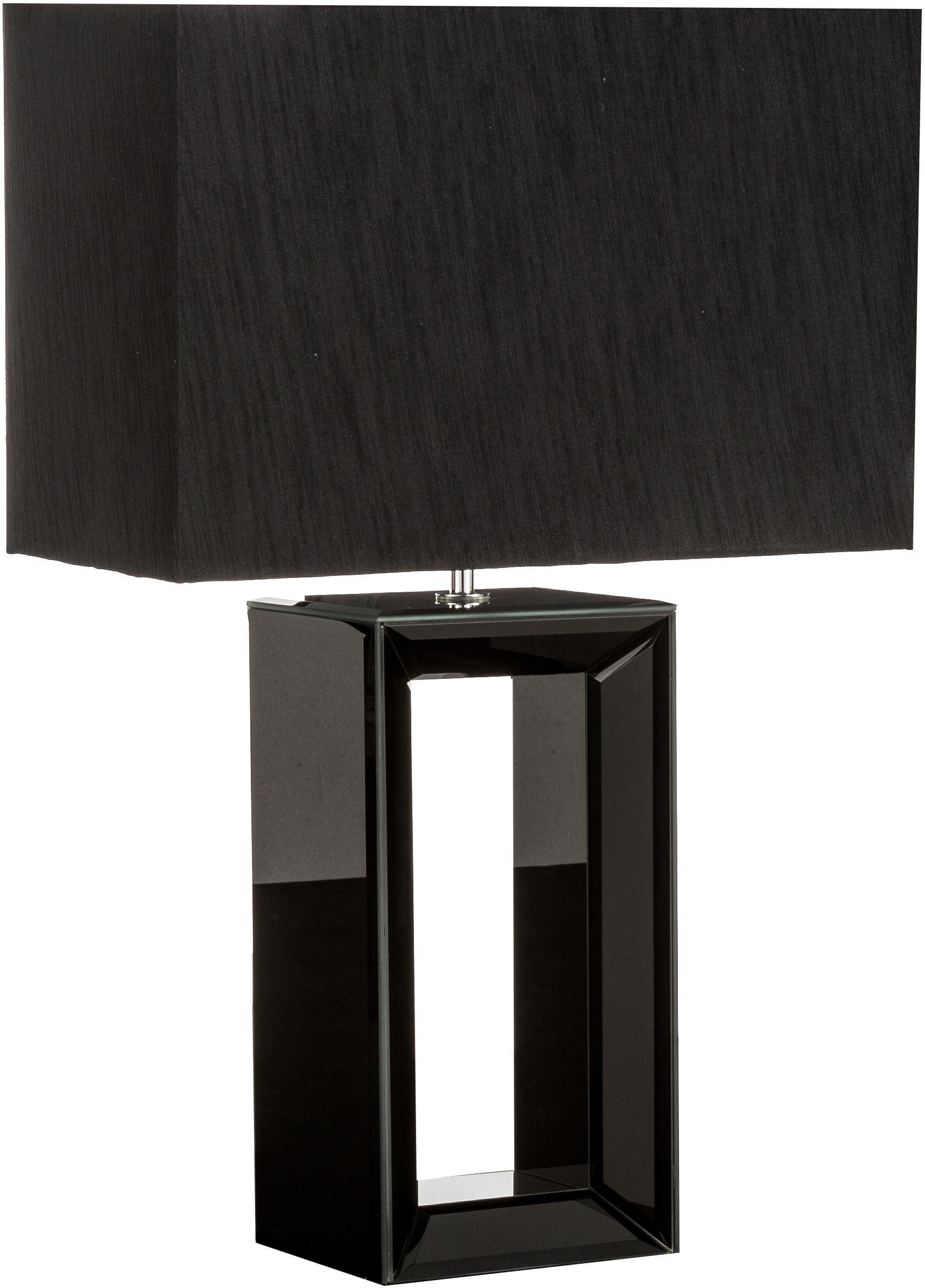 Lampada da tavolo in  lastra di vetro Serafina, Base della lampada: vetro, Paralume: tessuto, Base della lampada: nero, a specchio Paralume: nero, Larg. 38 x Alt. 58 cm