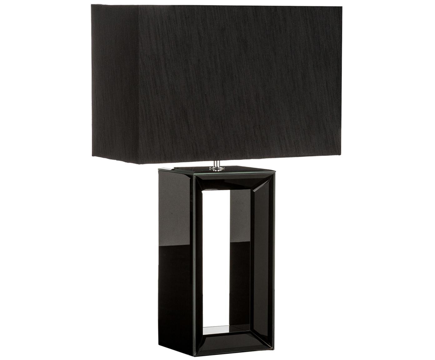 Große Tischleuchte Serafina aus lackiertem Spiegelglas, Lampenfuß: Spiegelglas, Lampenschirm: Textil, Lampenfuß: Schwarz, verspiegelt<br>Lampenschirm: Schwarz, 38 x 58 cm