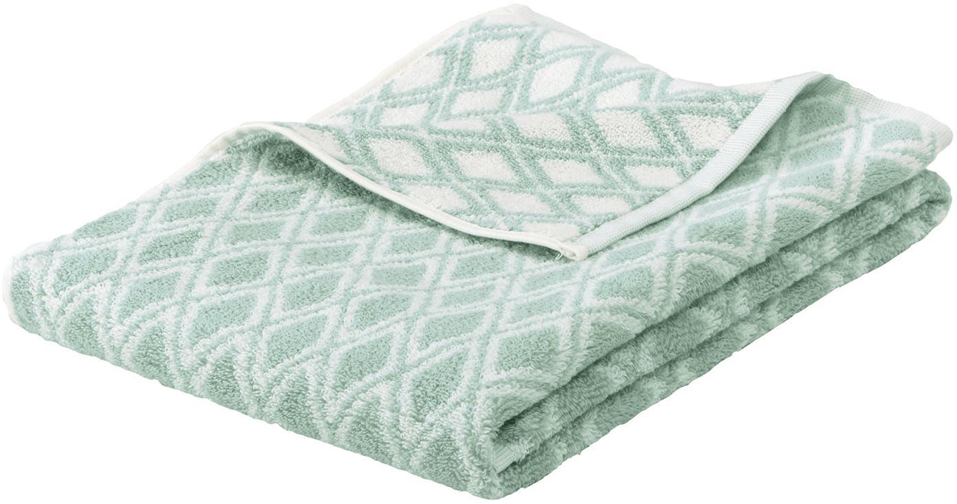 Asciugamano reversibile con motivo grafico Ava, Verde menta, bianco crema, Asciugamano