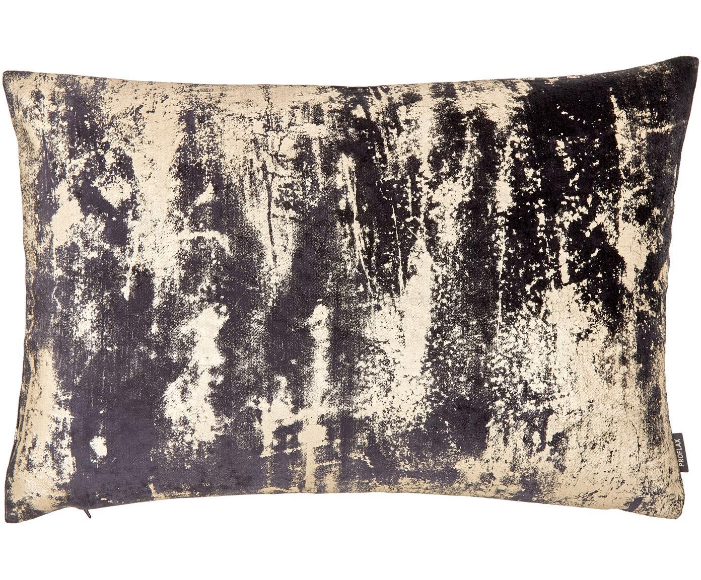Fluwelen kussenhoes Shiny met glinsterend vintage patroon, Bovenzijde: polyesterfluweel, Onderzijde: polyester, Grafietgrijs, 40 x 60 cm