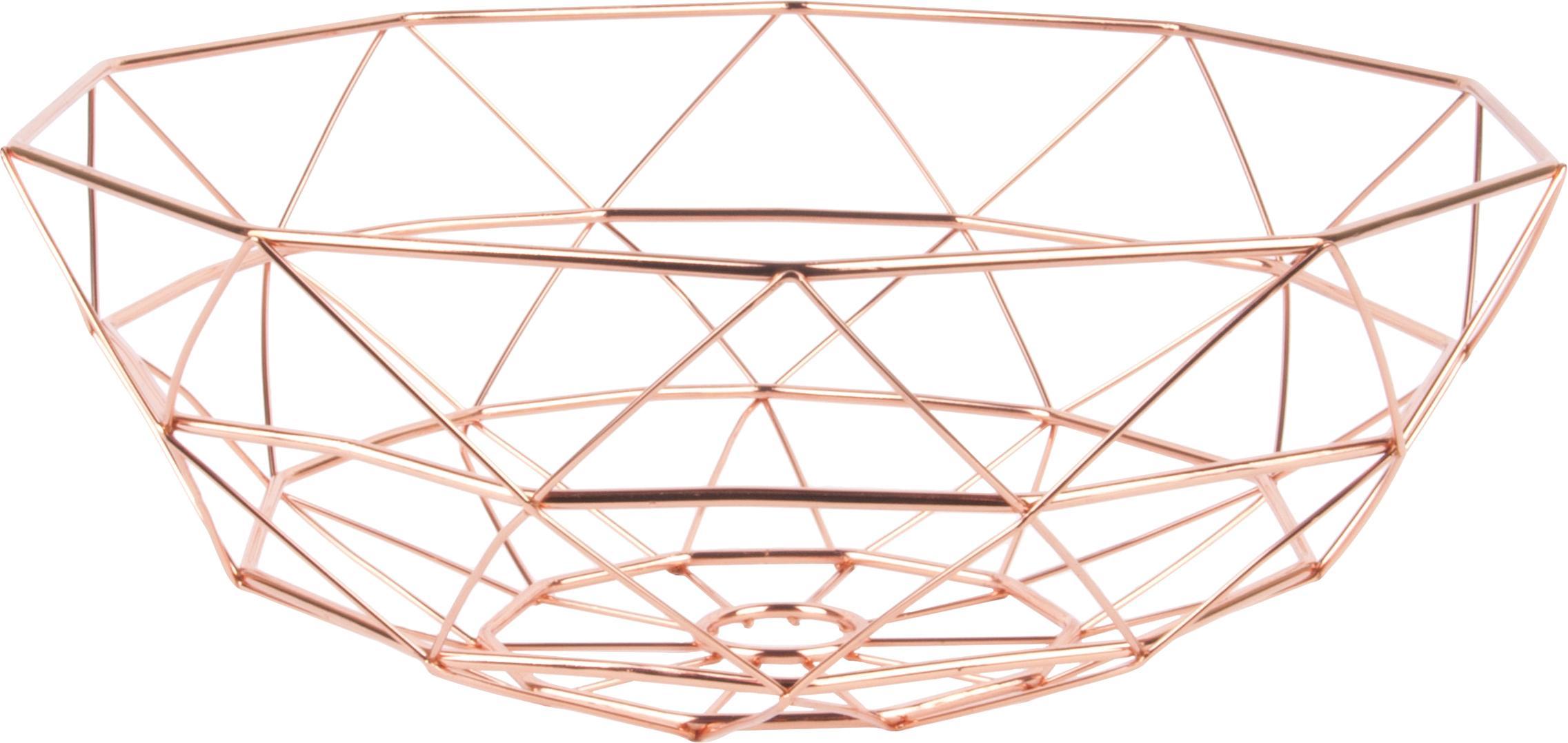 Aufbewahrungskorb Diamond Cut in Kupfer, Metall, Kupferfarben, Ø 35 x H 13 cm