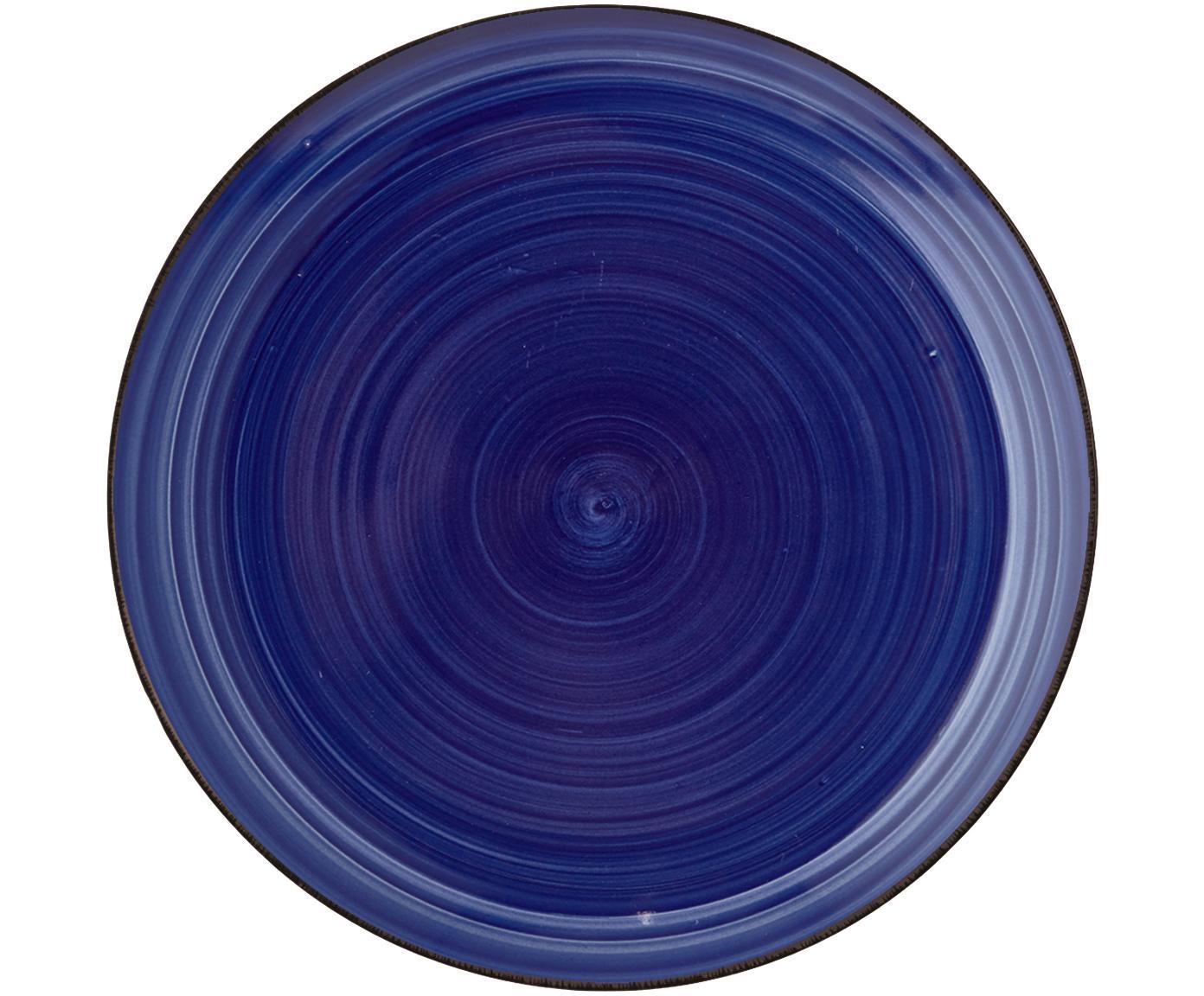 Handbemalte Frühstücksteller Baita in Blau, 6 Stück, Steingut (Dolomitstein), handbemalt, Blau, Ø 20 cm
