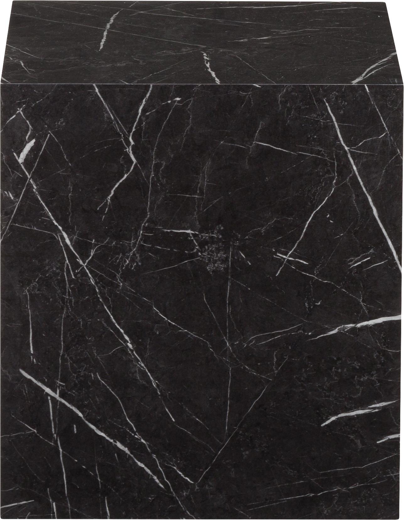 Table d'appoint aspect marbre Lesley, Noir, marbré