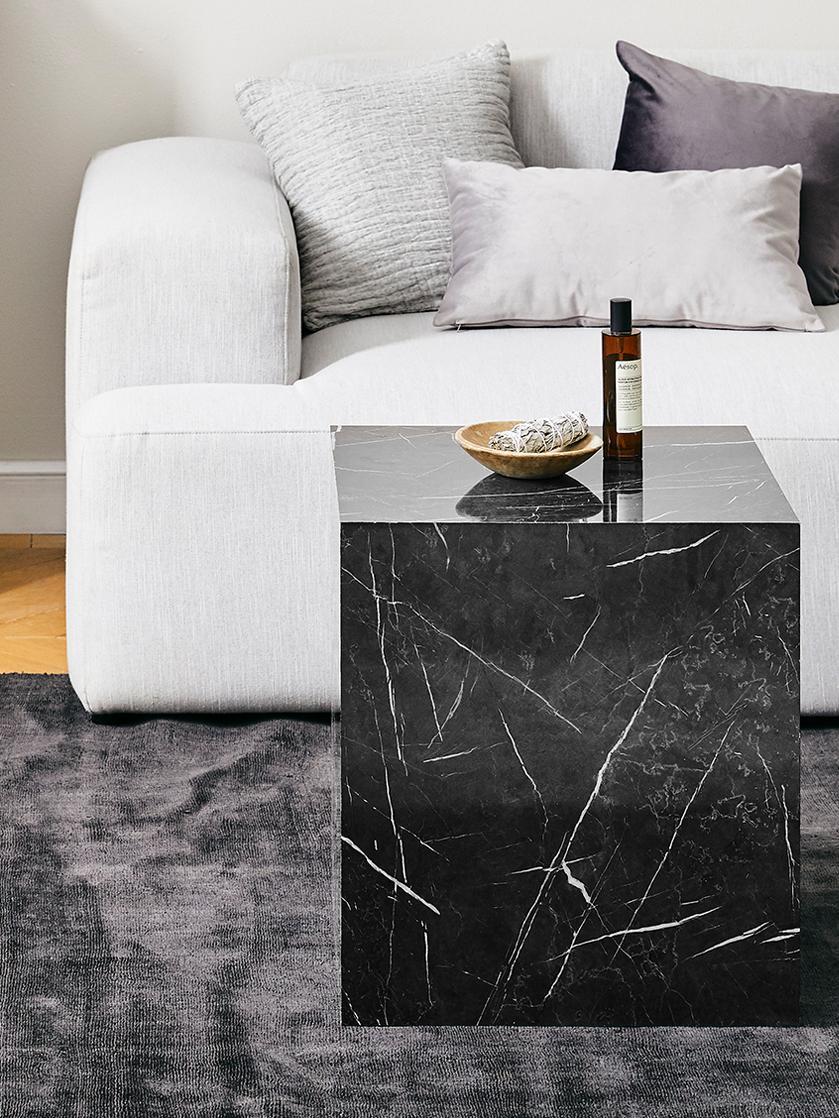 Stolik pomocniczy z wzorem marmurowym Lesley, Płyta pilśniowa średniej gęstości (MDF) pokryta folią melaminową, Czarny, marmurowy, S 45 x W 50 cm
