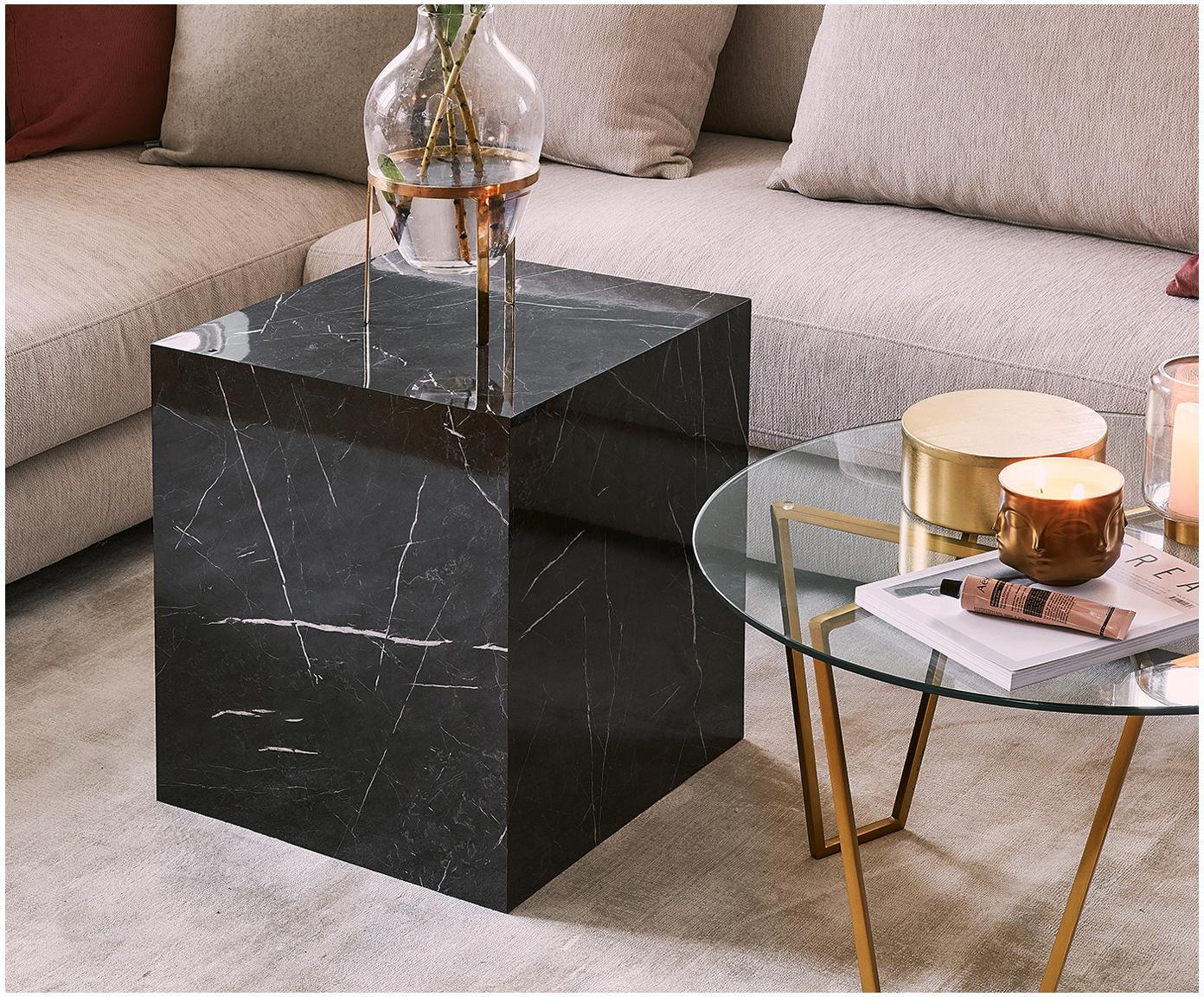 Bijzettafel Lesley in marmerlook, MDF, bekleed met melaminefolie, Gemarmerd zwart, 45 x 50 cm