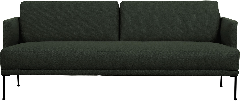 Sofa Fluente (3-Sitzer), Bezug: 100% Polyester Der hochwe, Gestell: Massives Kiefernholz, Füße: Metall, pulverbeschichtet, Webstoff Dunkelgrün, B 196 x T 85 cm