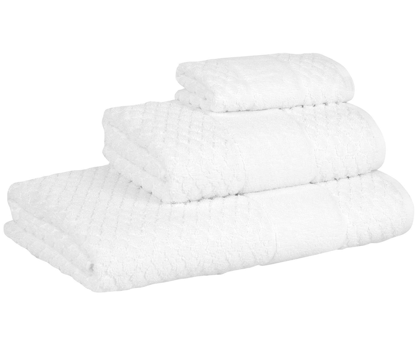 Set de toallas texturizada Katharina, 3pzas., Blanco, Tamaños diferentes