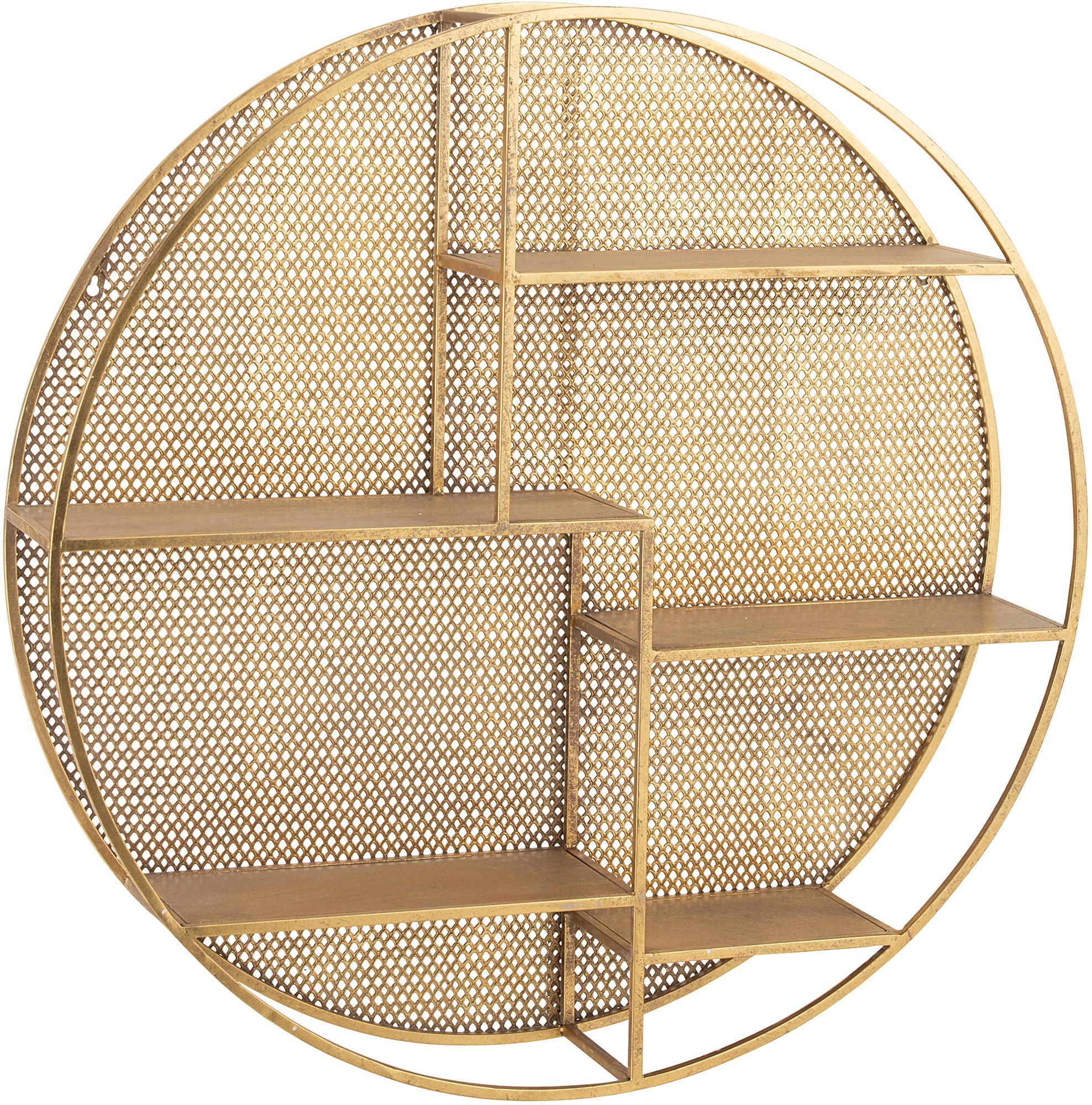 Ripiano da parete rotondo in metallo Mimau, Metallo verniciato, Dorato, Ø 92 cm