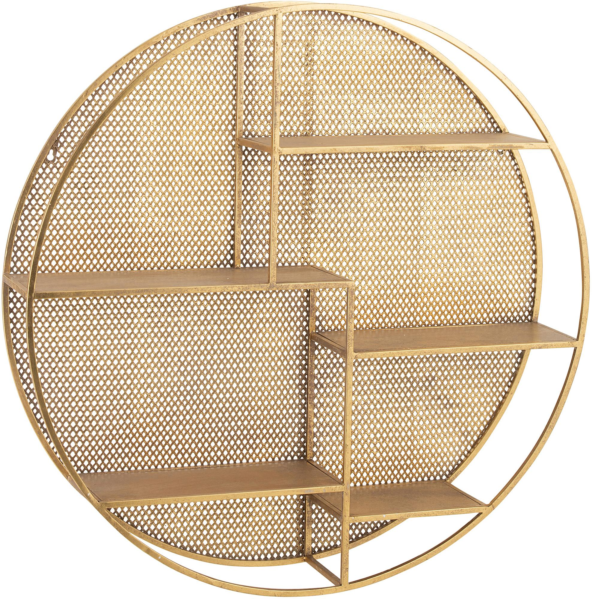 Rundes Metall-Wandregal Mimau, Metall, lackiert, Goldfarben, Ø 92 cm