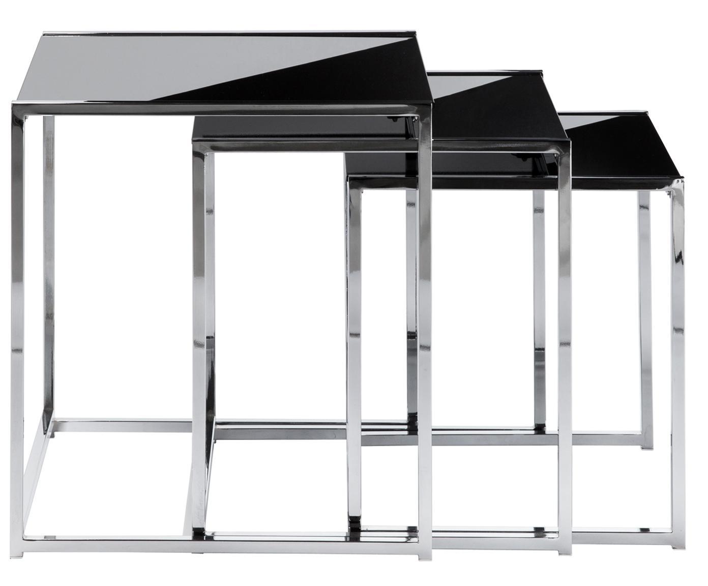 Bijzettafelset Cleo, 3-delig, Frame: verchroomd metaal, Tafelblad: veiligheidsglas, Zwart, zilverkleurig, Verschillende formaten