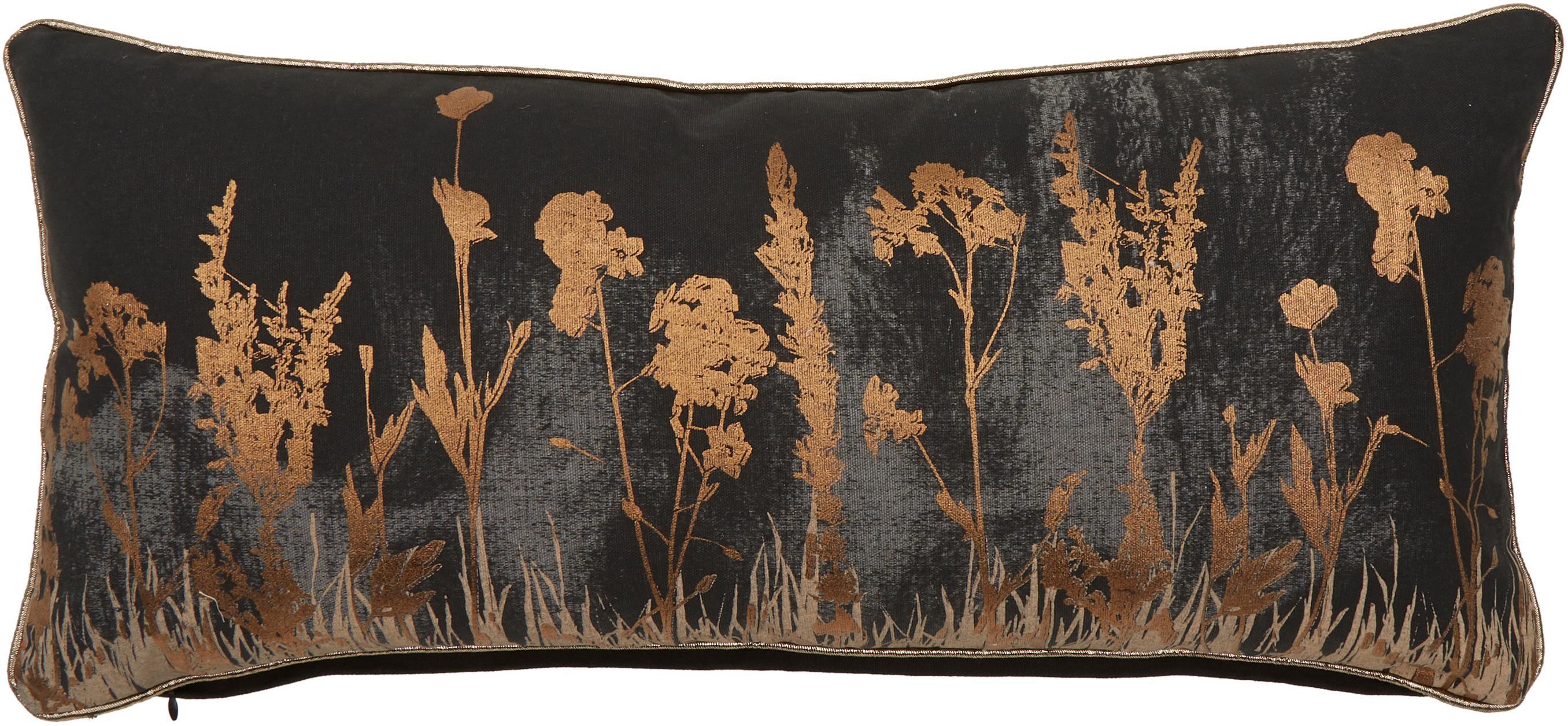 Kissen Wild Floral mit glänzendem Blumenmuster, mit Inlett, Bezug: 100% Baumwolle, Schwarz, Anthrazit, Kupferfarben, 30 x 65 cm