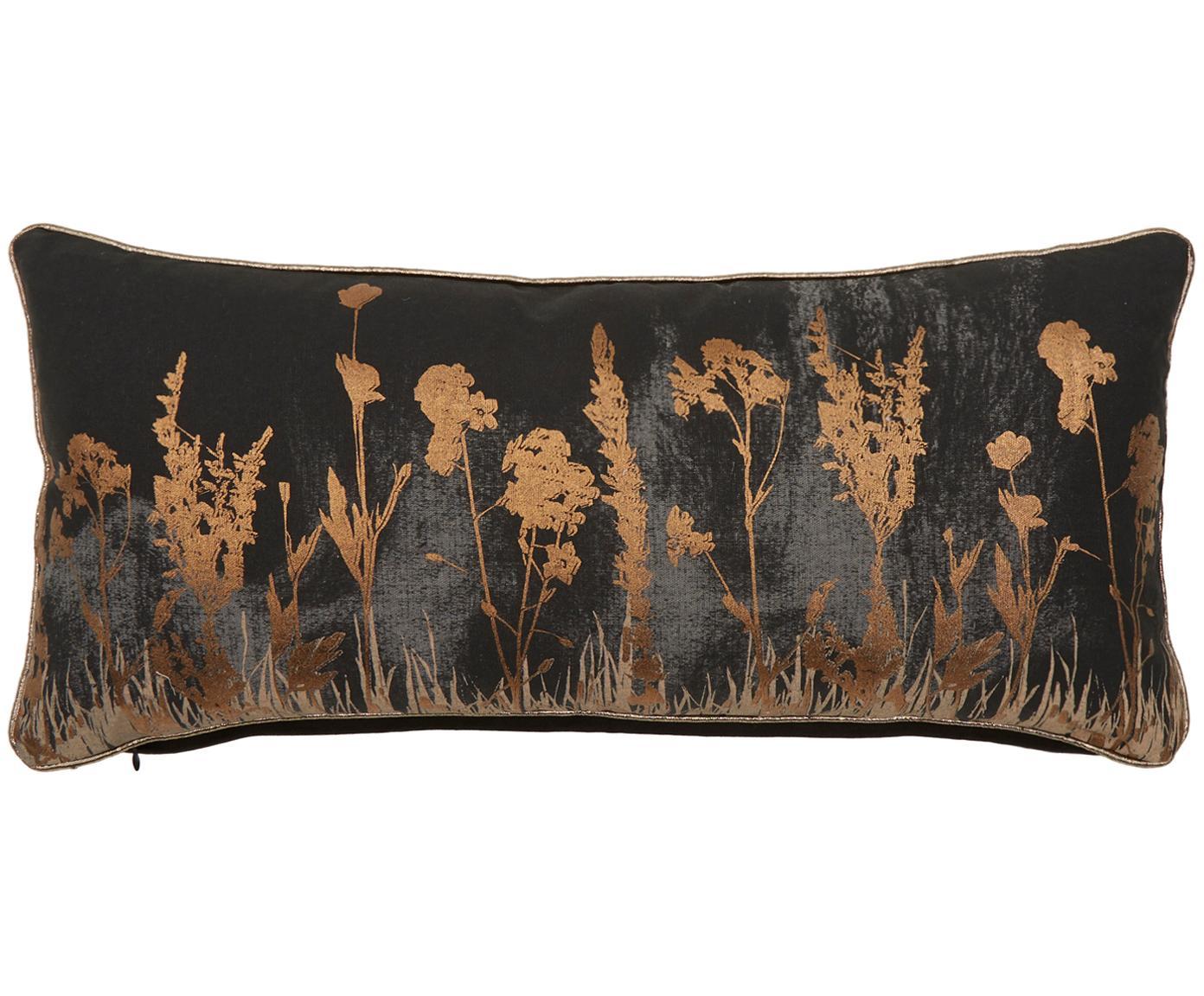 Kussen Wild Floral, met vulling, Zwart, antraciet, koperkleurig, 30 x 65 cm