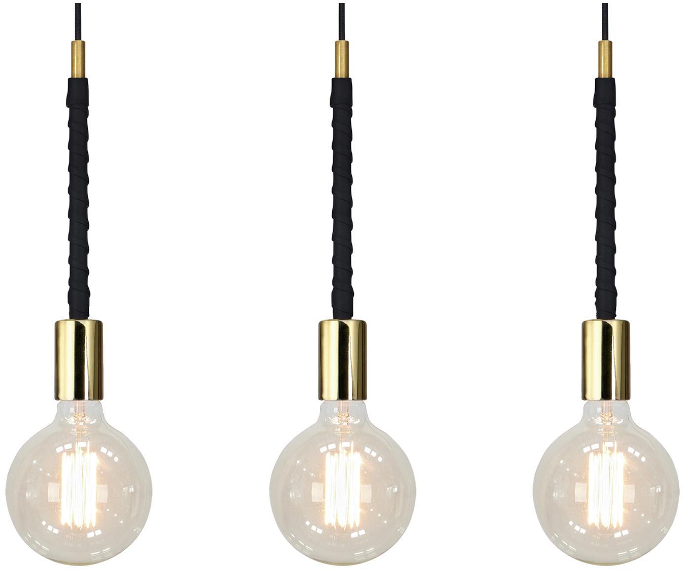 Lámpara de techo Saddle, Cable: cubierto en tela, Fijación: latón con piel artificial, Dorado, negro, An 68 x Al 31 cm