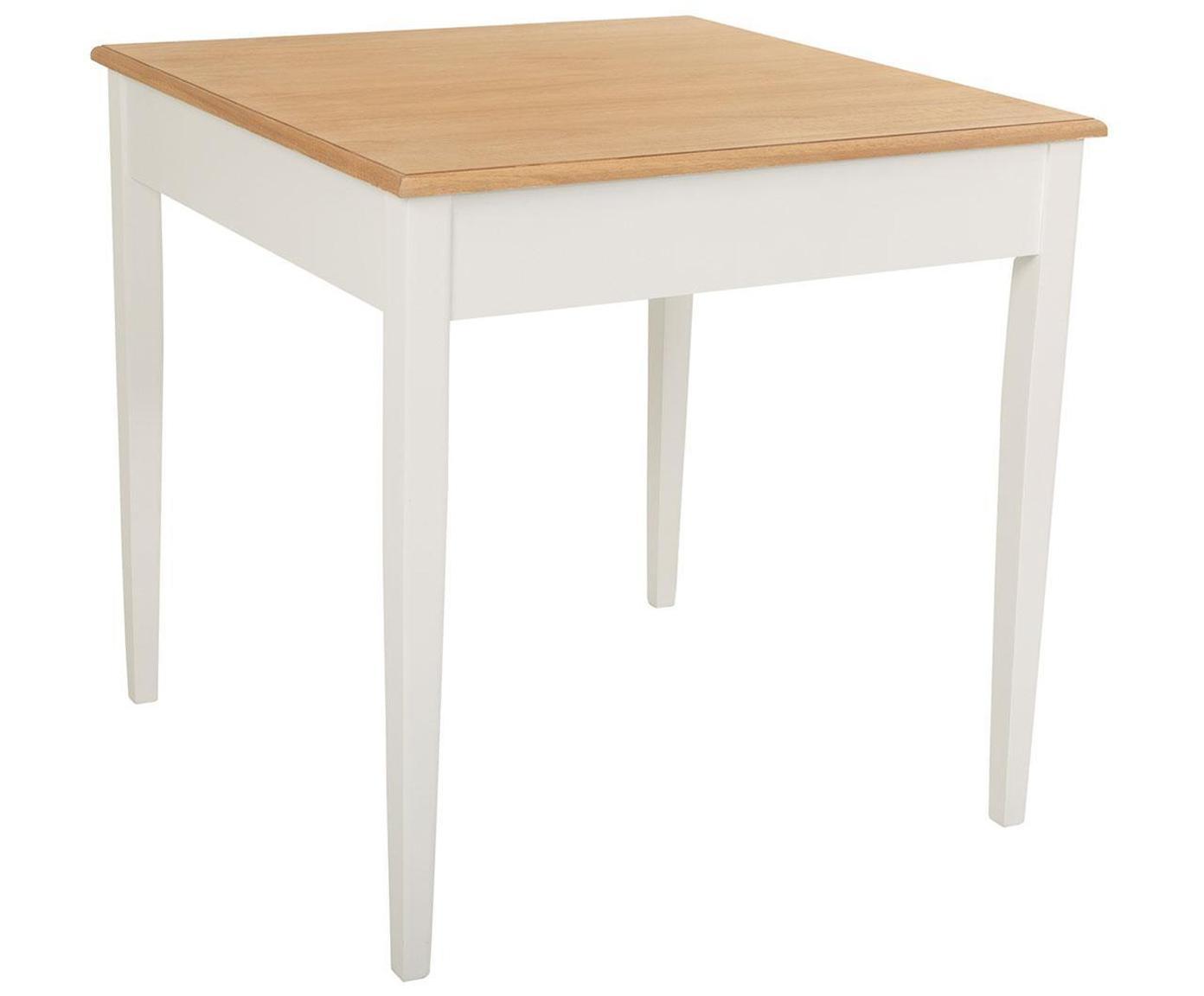 Mesa de comedor Noa, Patas: madera de paulownia, Tablero: fibras de densidad media , Beige, blanco, An 80 x F 80 cm