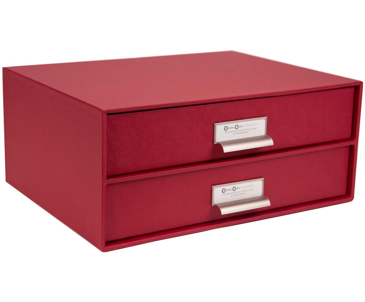 Organizer da ufficio Birger, Organizer: solido cartone laminato, Rosso scuro, Larg. 33 x Alt. 15 cm