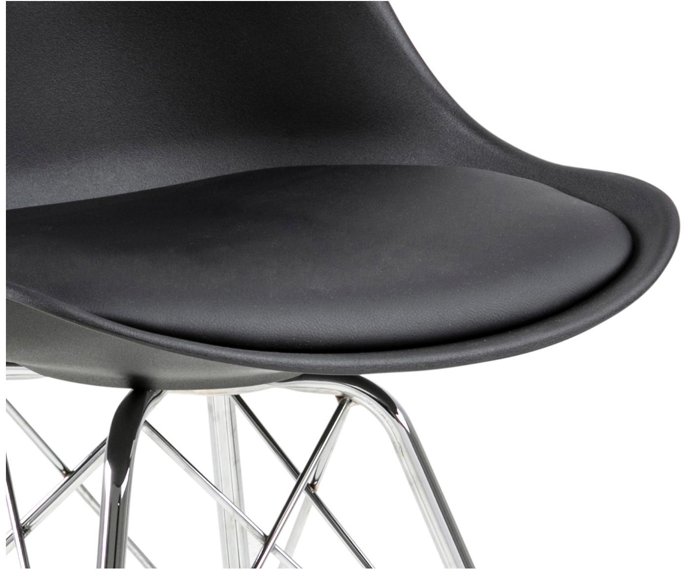 Kunststoff-Stühle Eris, 2 Stück, Sitzschale: Kunststoff, Sitzfläche: Kunstleder, Beine: Metall, verchromt, Schwarz, Beine Chrom, B 49 x T 54 cm