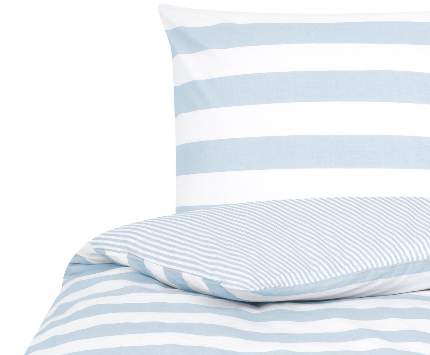 Funda nórdica doble cara de tejido renforcé Lorena, Azul claro, blanco crema, Cama 90 cm (150 x 220 cm)