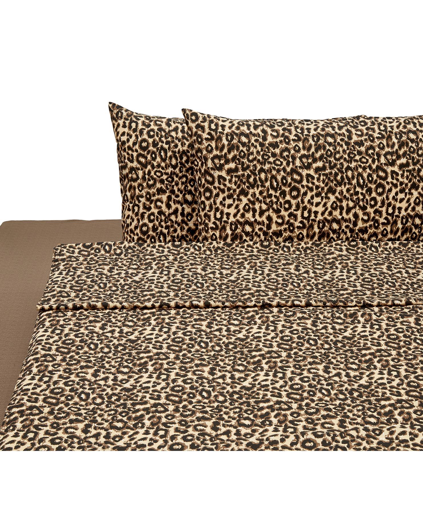 Set lenzuola in cotone  Leopard, 4 pz, Cotone, Marrone, beige, 250 x 280 cm