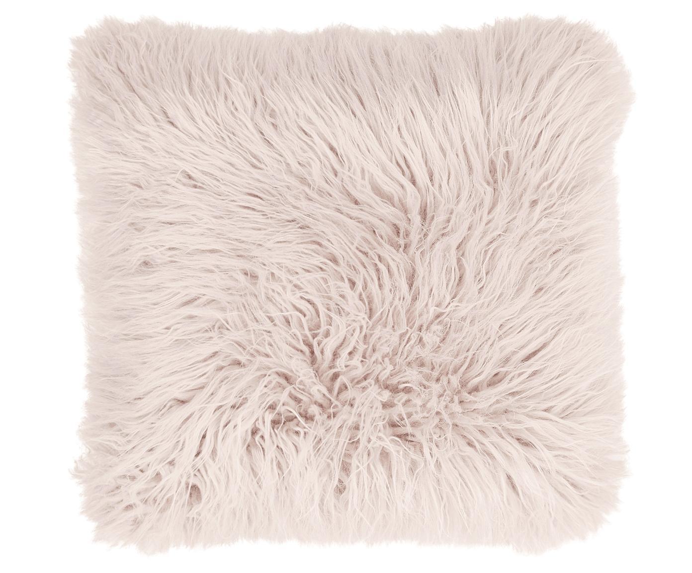 Kussenhoes van imitatievacht Morten, gekruld, Roze, 40 x 40 cm