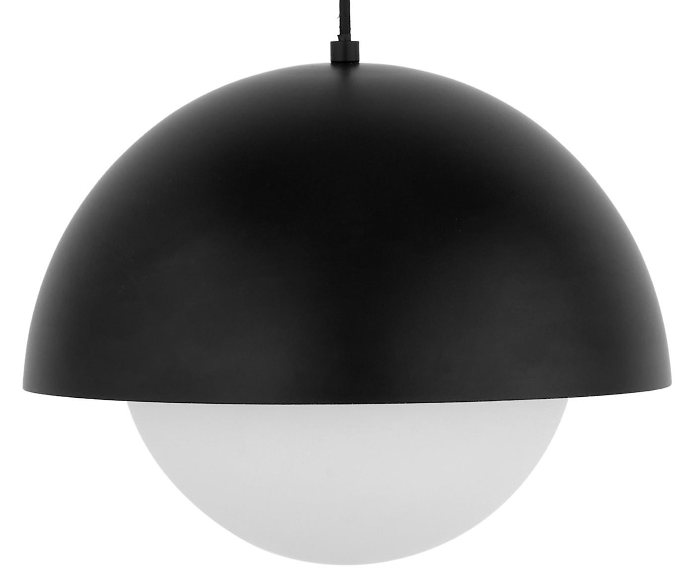 Hanglamp Lucille, Baldakijn: geborsteld metaal, Lampenkap: glas, Zwart, wit, Ø 35 x H 30 cm