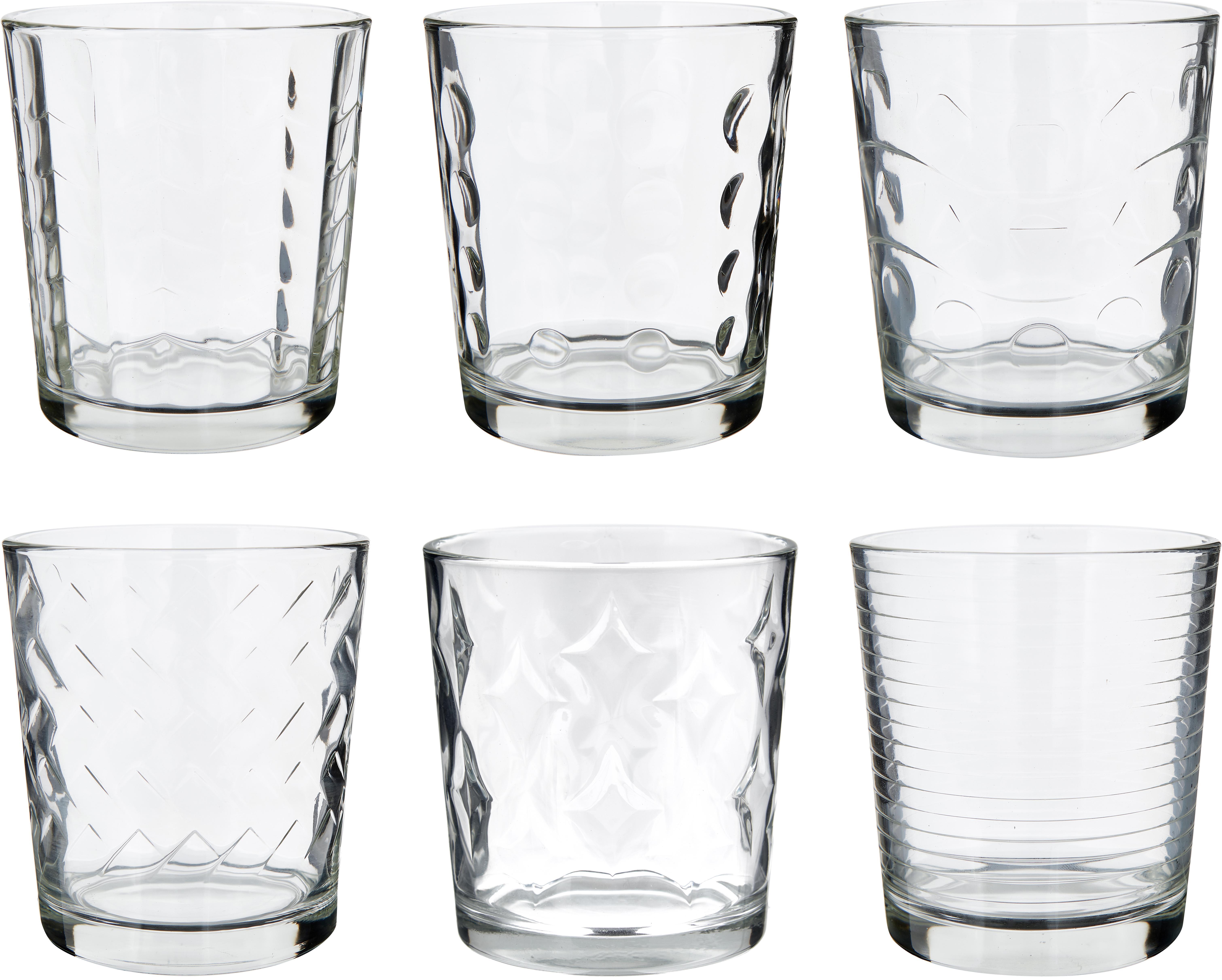 Waterglazenset Clear met verschillende structuur patronen, 6-delig, Glas, Transparant, Ø 9 x H 10 cm