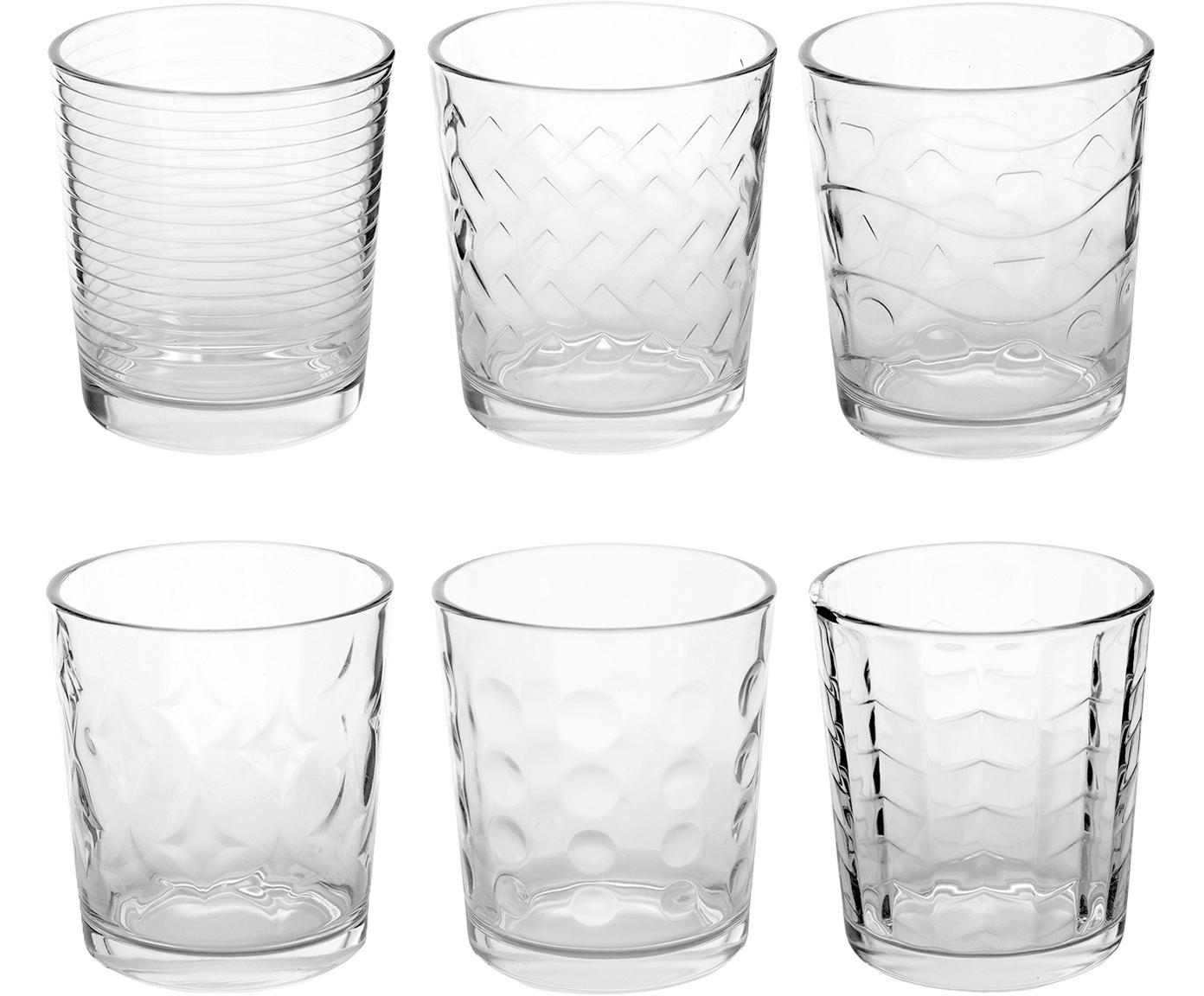 Vasos con relieve Clear, 6uds., Vidrio, Transparente, Ø 9 x Al 10 cm