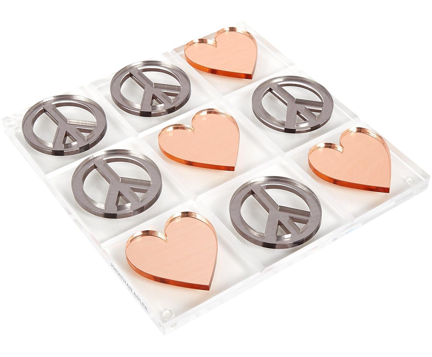 Bordspel Love & Peace Tic Tac Toe, 100% acrylglas, Speelstenen: zilverkleurig, koperkleurig. Speelbord: transparant, 26 x 26 cm