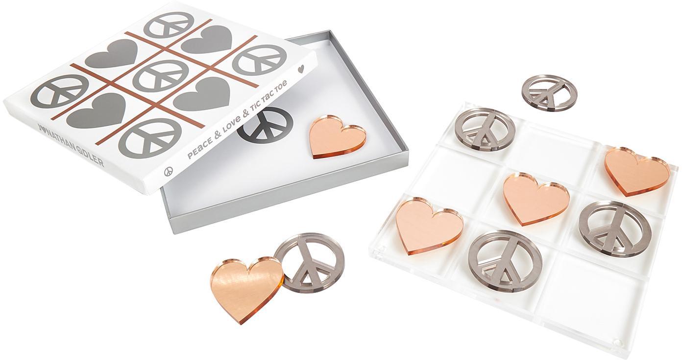 Designer-Brettspiel Love & Peace Tic Tac Toe, 100% Acrylglas, Spielsteine: Silberfarben und Kupferfarben<br>Spielbrett: Transparent, 26 x 26 cm