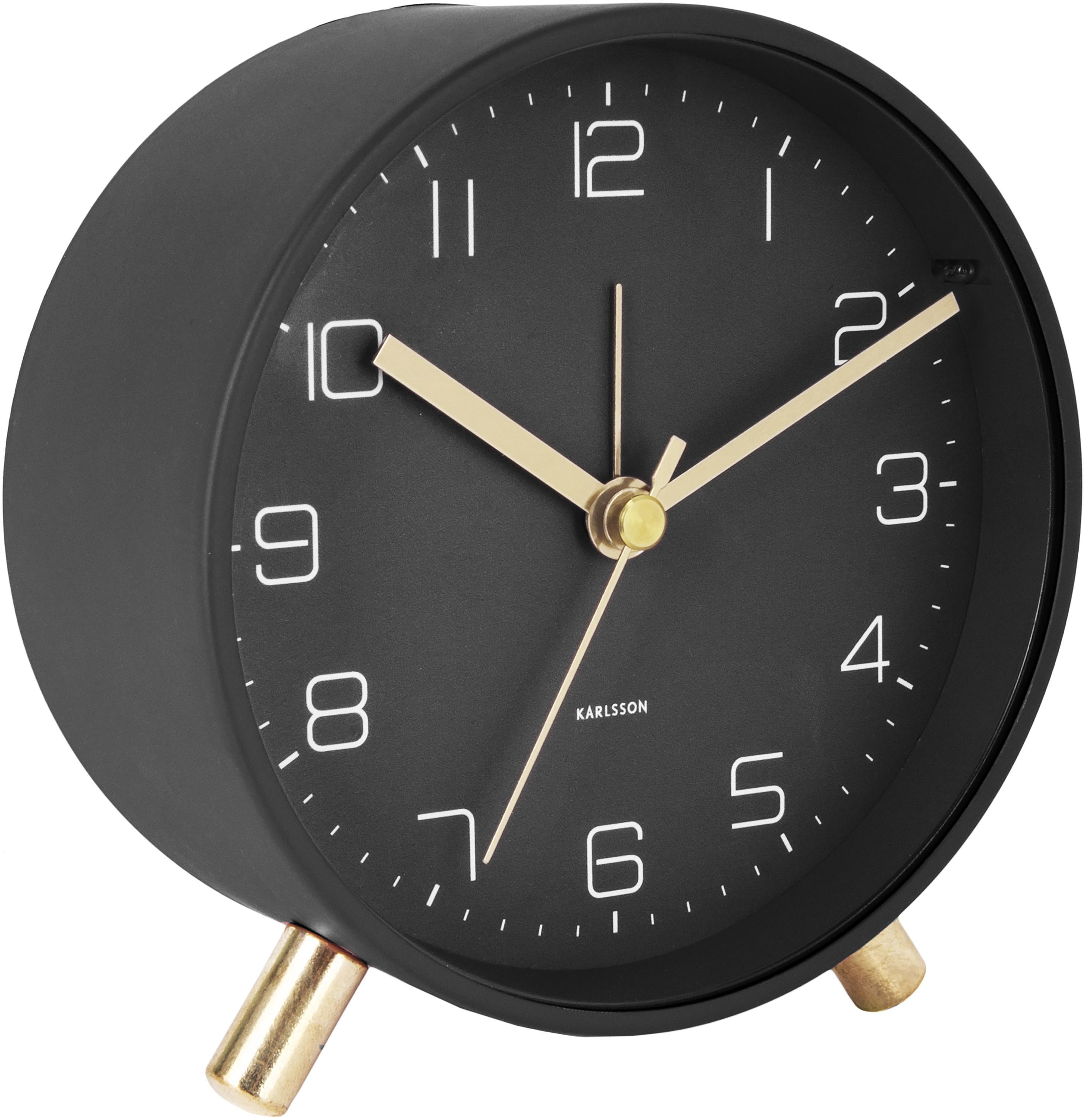 Despertador Lofty, Metal pintado, Negro, Ø 11 x P 5 cm