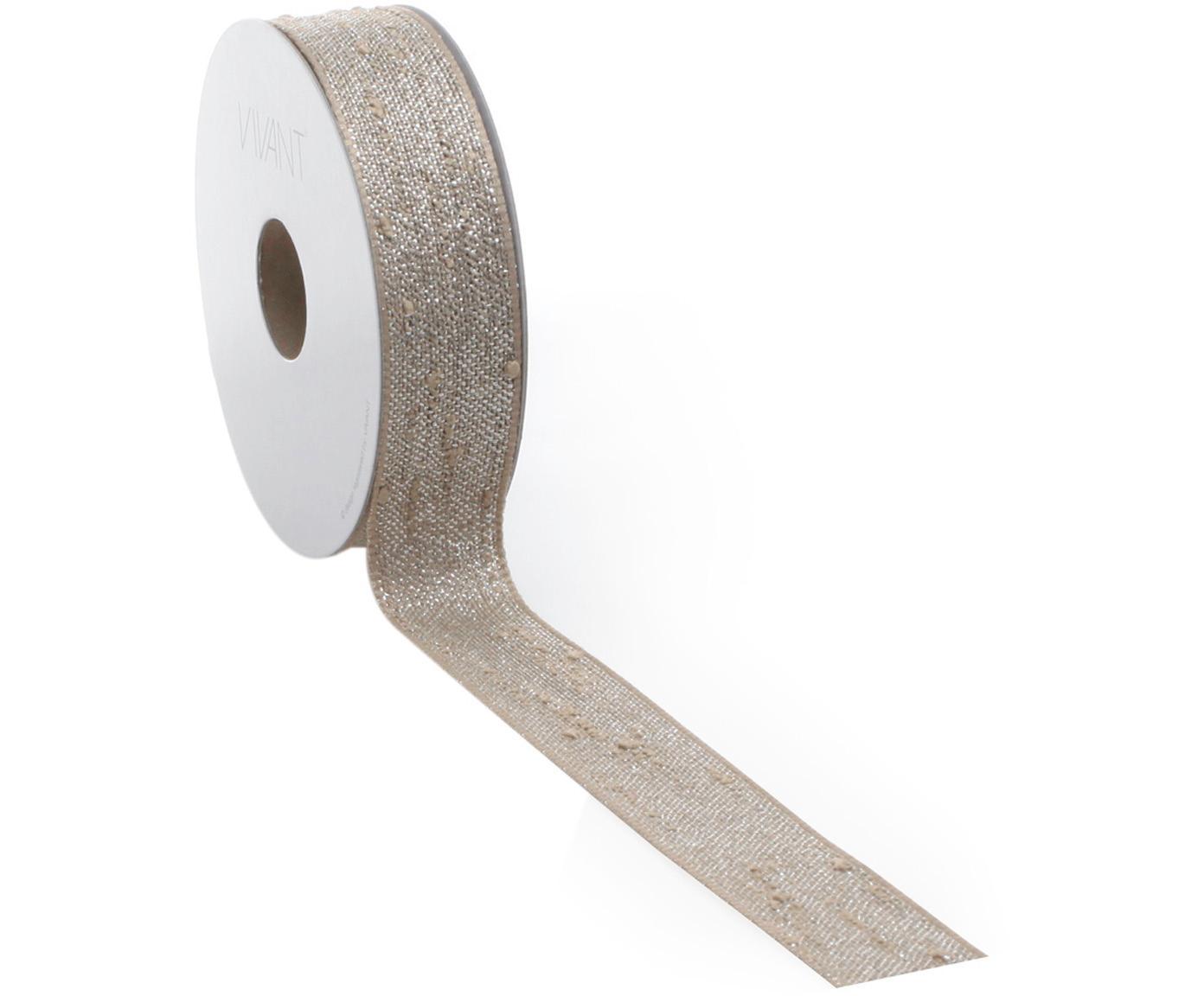 Wstążka prezentowa Boucle, 55% poliester, 45% nić lureksowa, Brązowy, odcienie srebrnego, S 3 x D 1000 cm