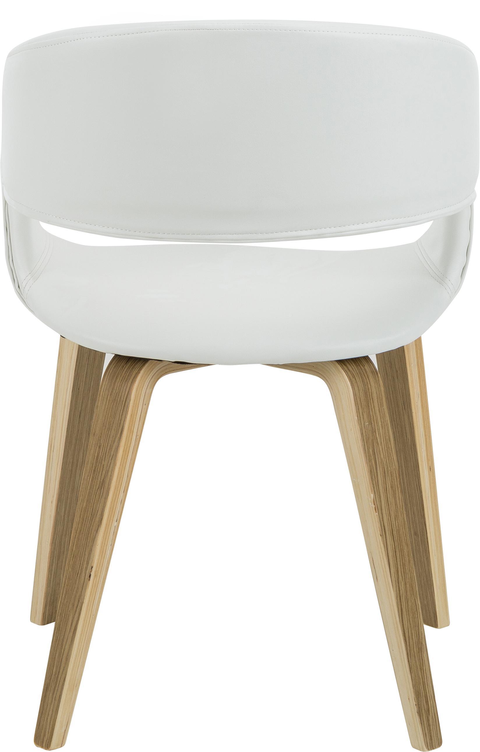 Kunstleder-Armlehnstühle Nova, 2 Stück, Beine: Eichenschichtholz, weiß g, Bezug: Kunstleder (Polyurethan), Weiß, Eiche, B 50 x T 55 cm