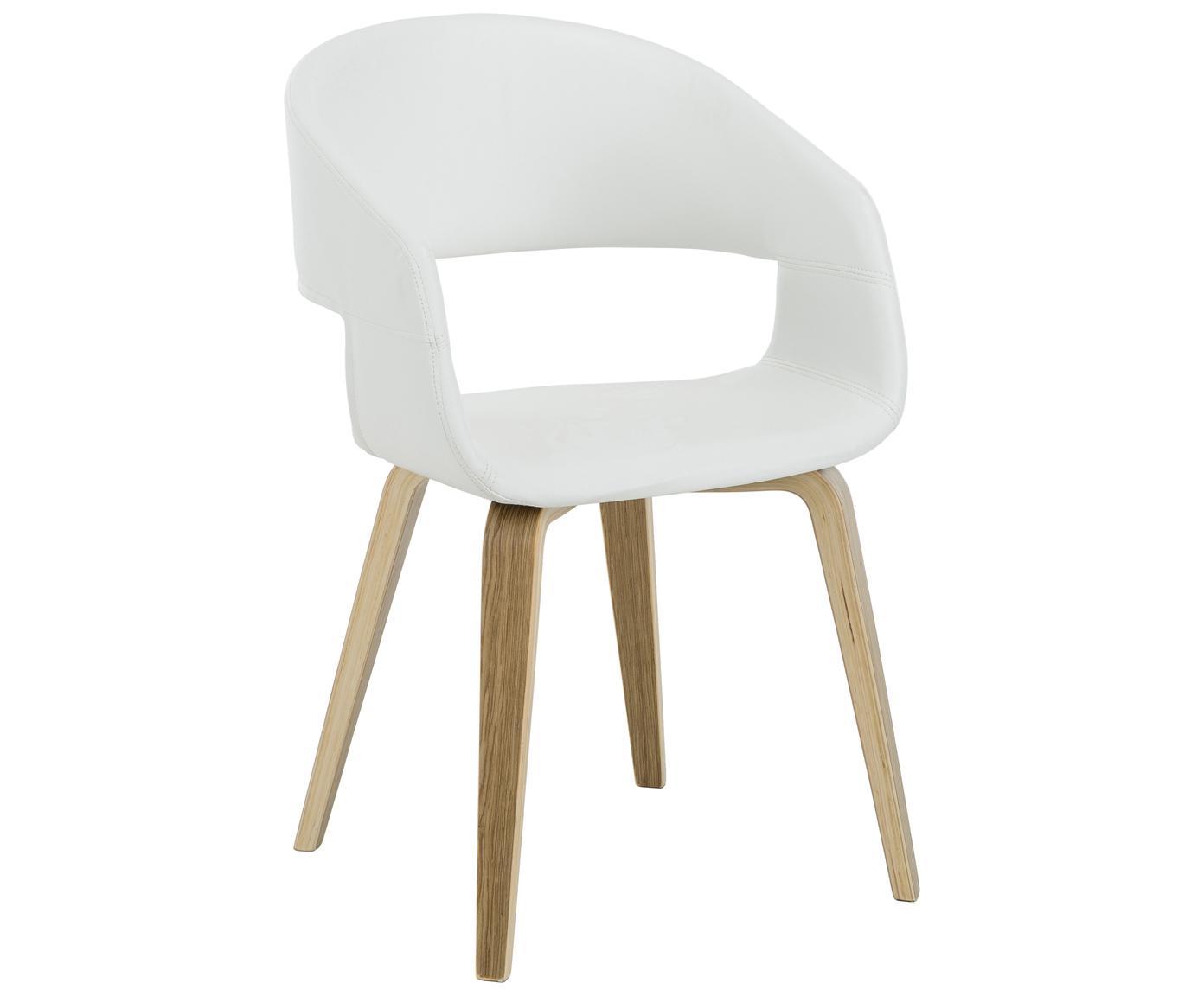 Krzesło z podłokietnikami ze sztucznej skóry  Nova, 2 szt., Nogi: drewno dębowe, lakierowan, Tapicerka: sztuczna skóra (poliureta, Biały, drewno dębowe, S 50 x W 77 cm