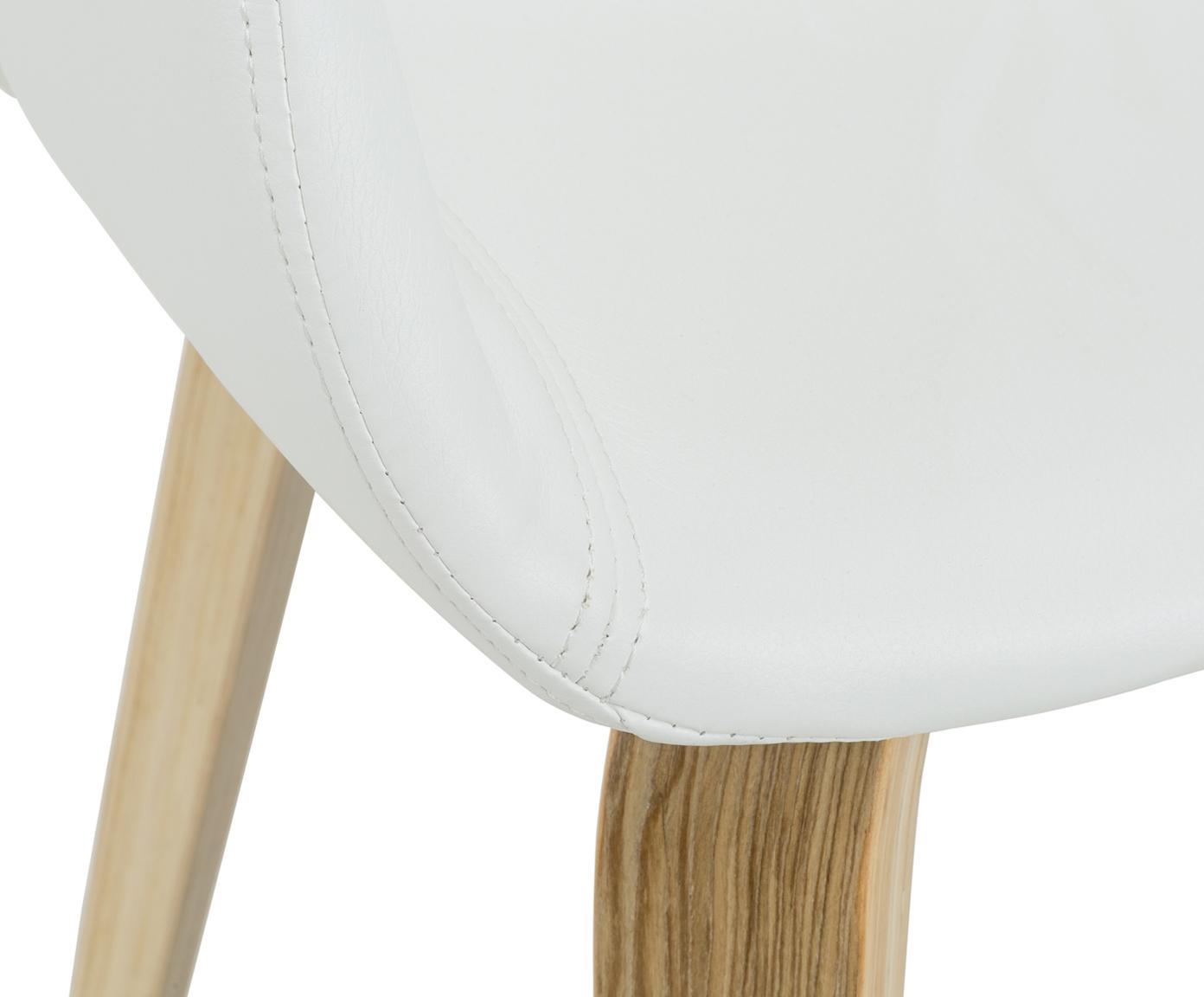 Kunstleder-Armlehnstühle Nova, 2 Stück, Beine: Eichenschichtholz, weiss , Bezug: Kunstleder (Polyurethan), Weiss, Eiche, B 50 x T 55 cm