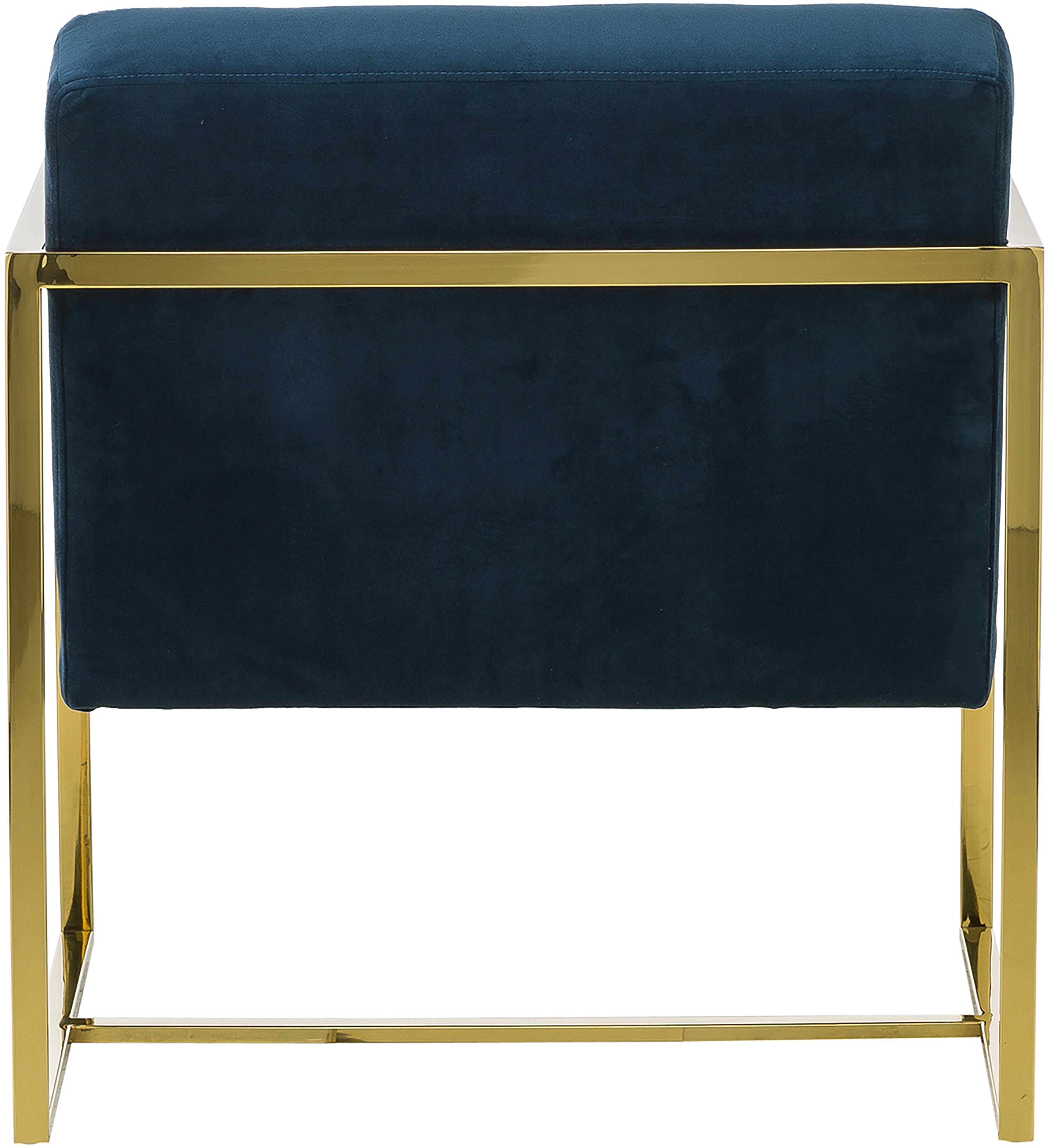Fauteuil lounge en velours Manhattan, Velours bleu foncé