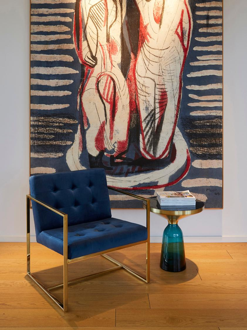 Sedia a poltrona in velluto Manhattan, Rivestimento: velluto (poliestere), Struttura: metallo rivestito, Velluto blu scuro, Larg. 70 x Prof. 72 cm
