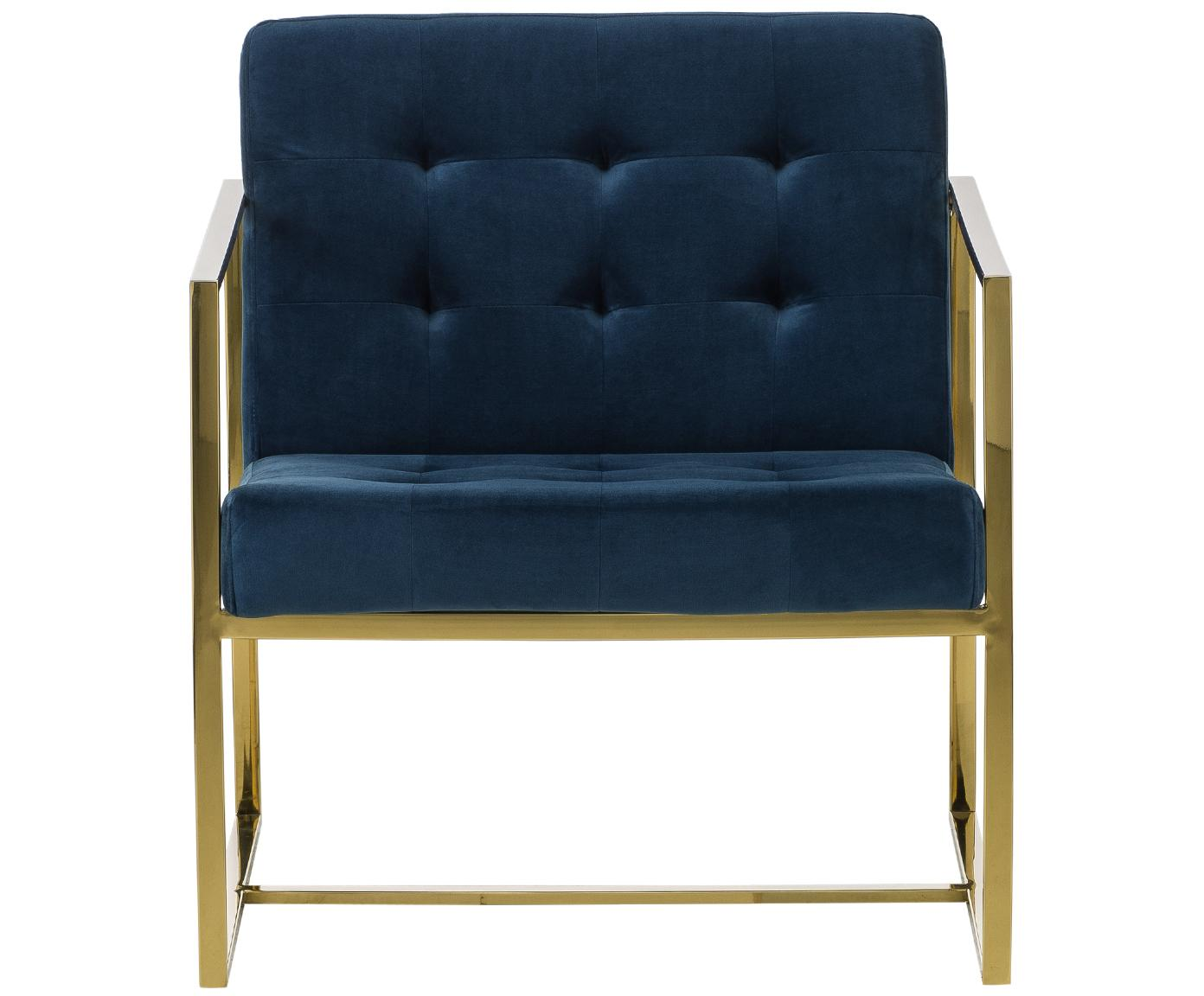 Fotel z aksamitu Manhattan, Tapicerka: aksamit (poliester), Stelaż: metal powlekany, Aksamitny ciemny niebieski, S 70 x G 72 cm