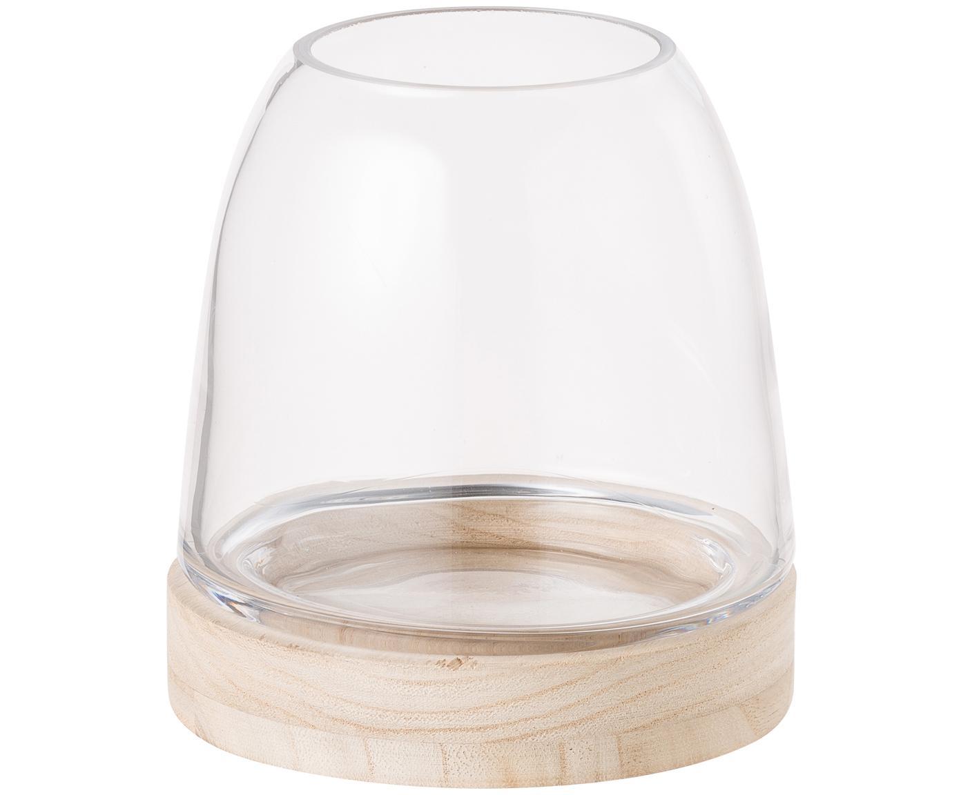 Portacandela in vetro e legno Filio, Legno di paulownia, vetro, Marrone chiaro, trasparente, Ø 13 x Alt. 13 cm