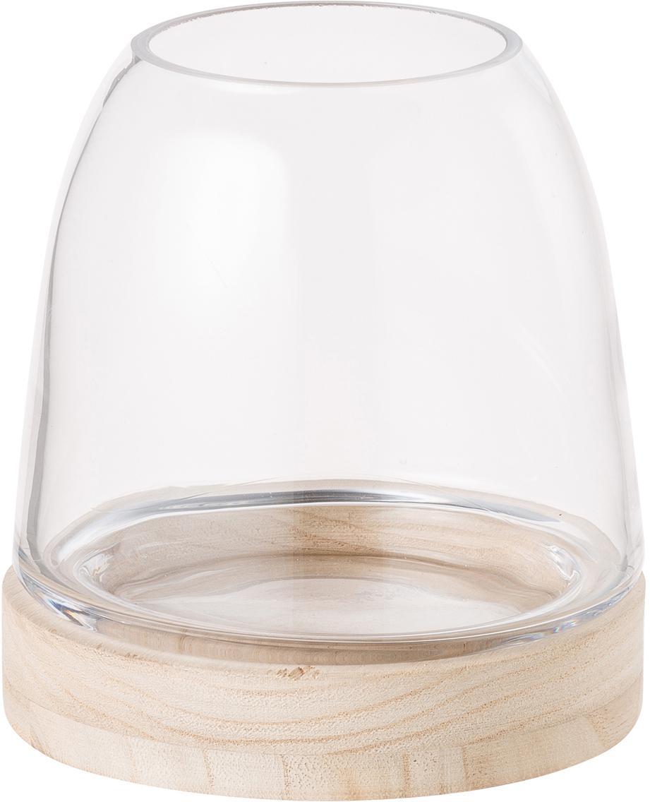 Portavelas Filio, Madera de paulownia, cristal, Beige, transparente, Ø 13 x Al 13 cm