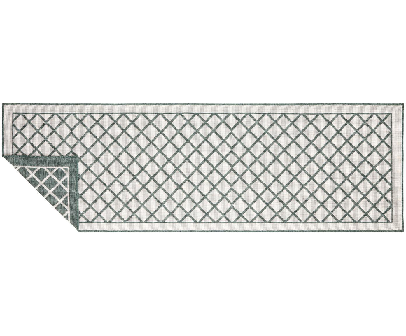 In- und Outdoor-Wendeläufer Sydney in Grün/Creme, Grün, Creme, 80 x 250 cm
