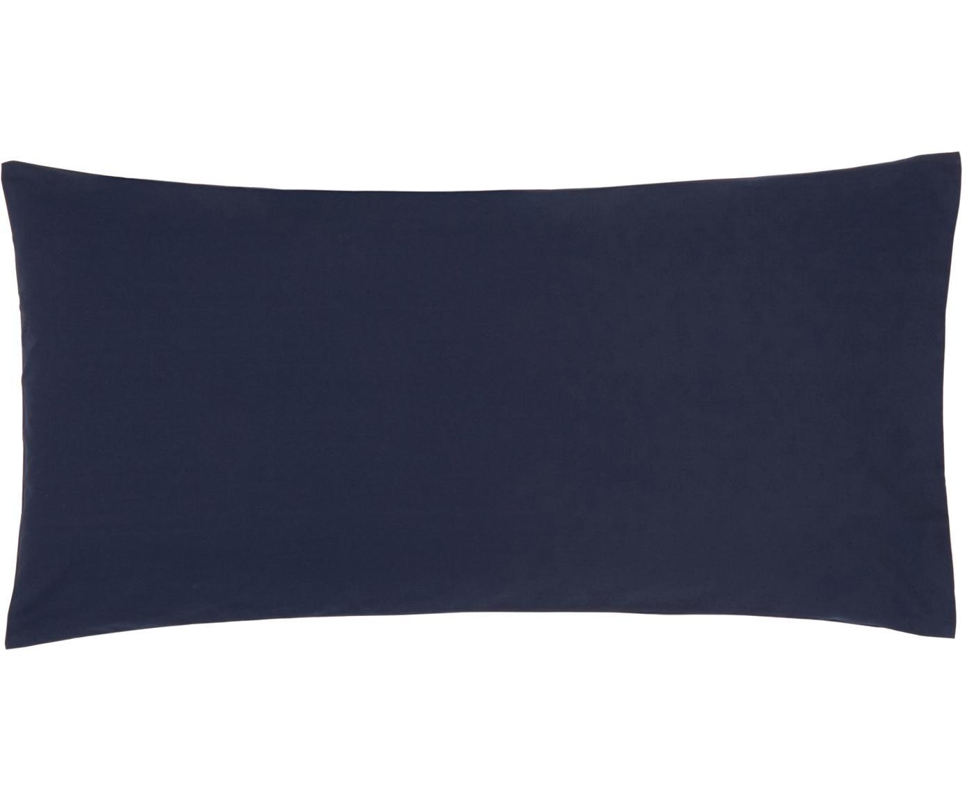 Poszewka na poduszkę z perkalu bawełnianego Elsie, 2 szt., Ciemnoniebieski, S 40 x D 80 cm