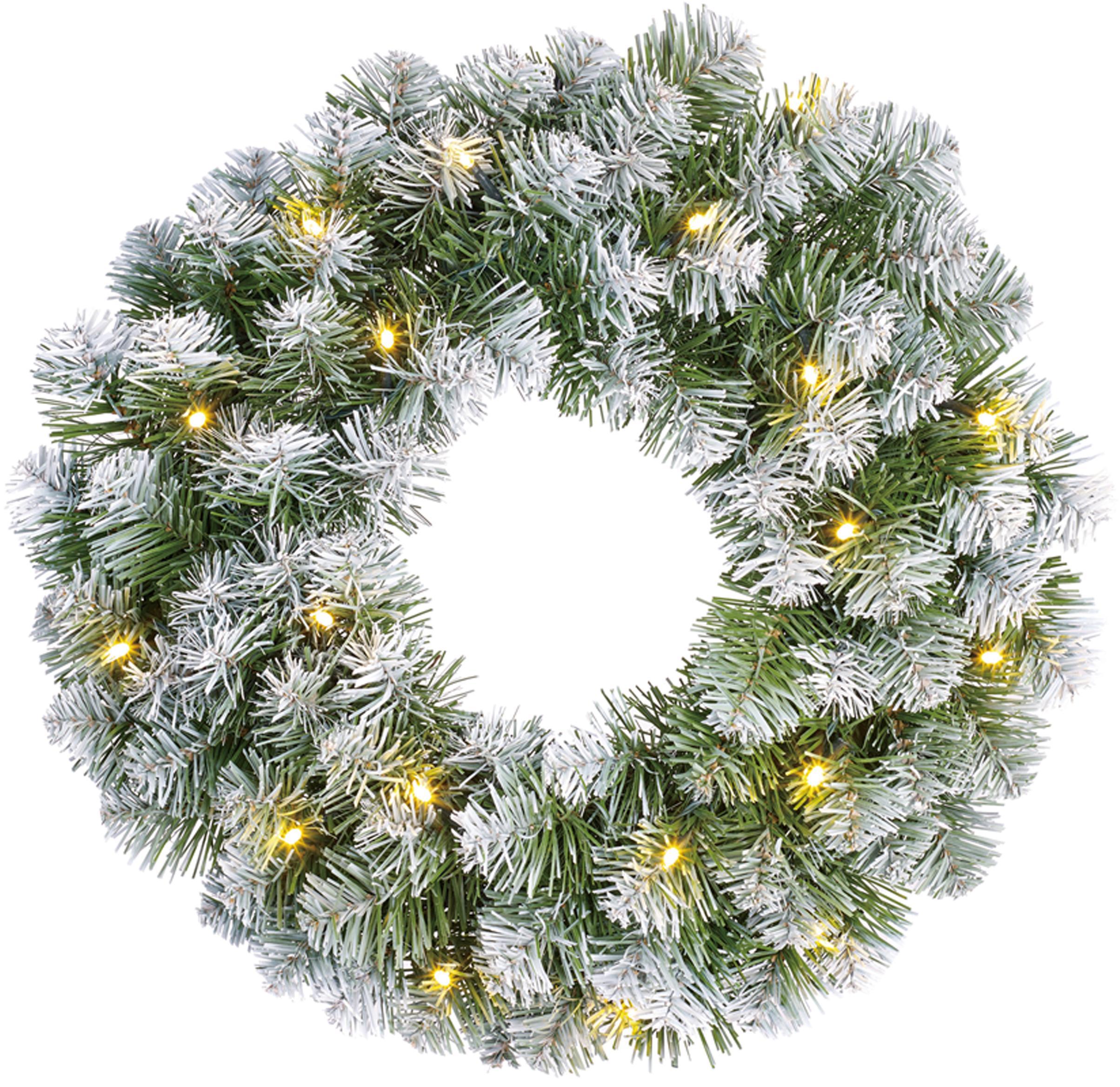 Künstlicher LED Weihnachtskranz Norton, Kunststoff, Grün, Weiß, Ø 45 cm