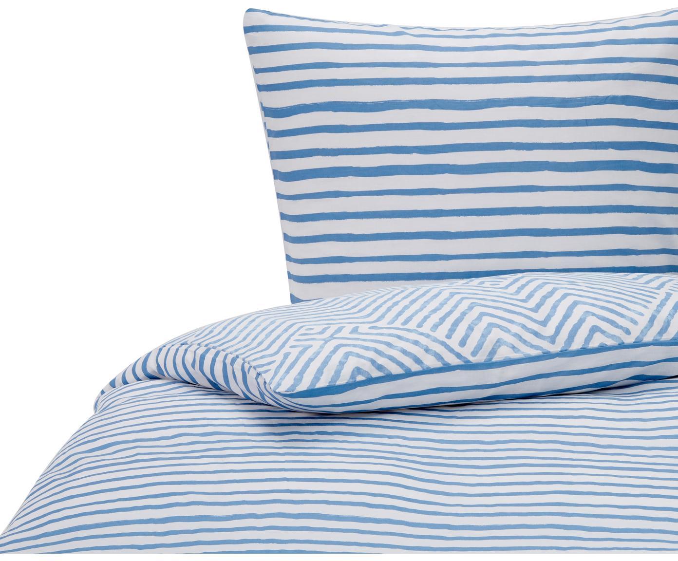 Baumwoll-Wendebettwäsche Get Framed, gemustert, 100% Baumwolle  Bettwäsche aus Baumwolle fühlt sich auf der Haut angenehm weich an, nimmt Feuchtigkeit gut auf und eignet sich für Allergiker., Hellblau, Weiß, 135 x 200 cm + 1 Kissen 80 x 80 cm