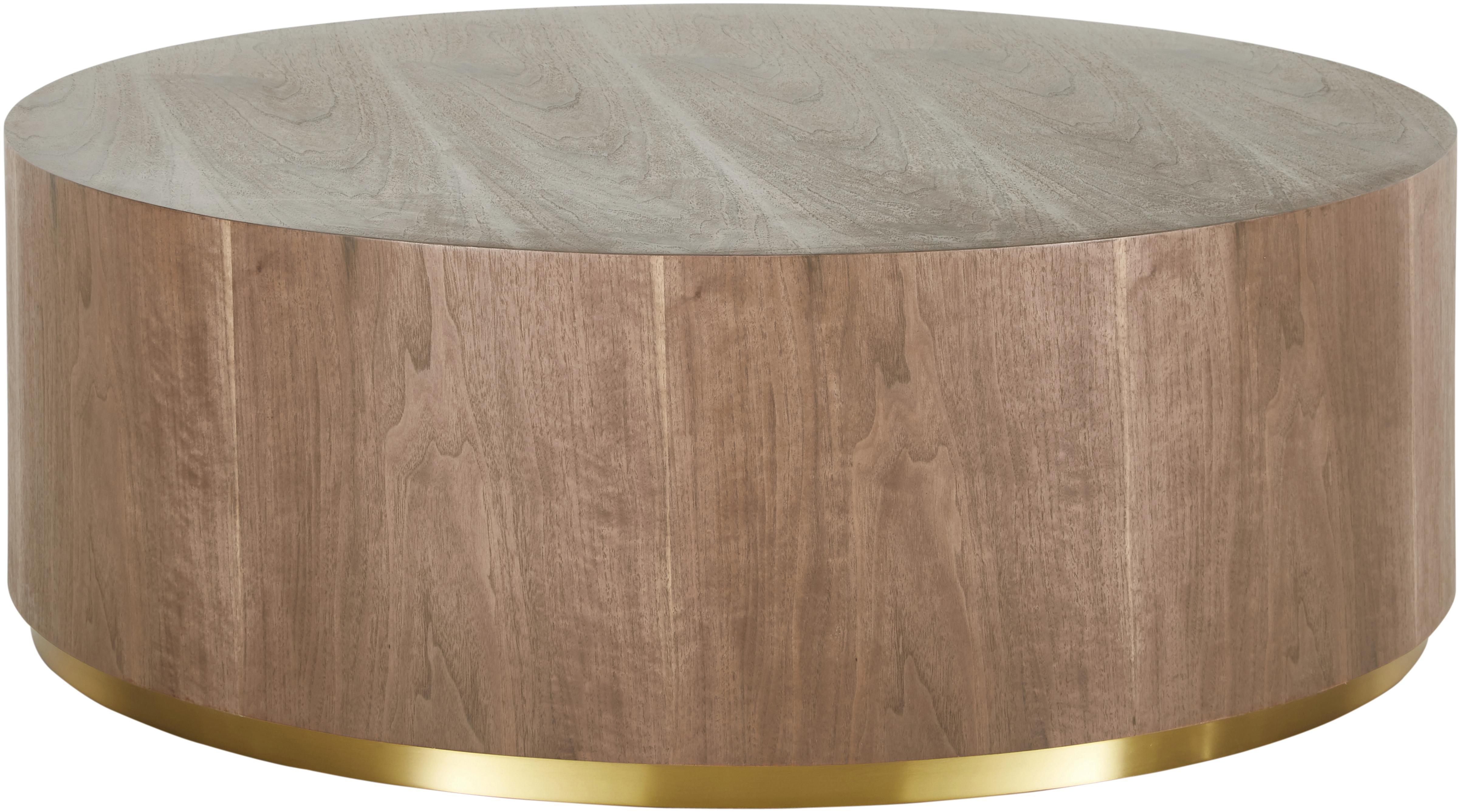 Grosser Couchtisch Clarice in Walnussfarben, Korpus: Mitteldichte Holzfaserpla, Korpus: Walnussholzfurnier Fuss: Goldfarben, glänzend gebürstet, Ø 90 x H 35 cm