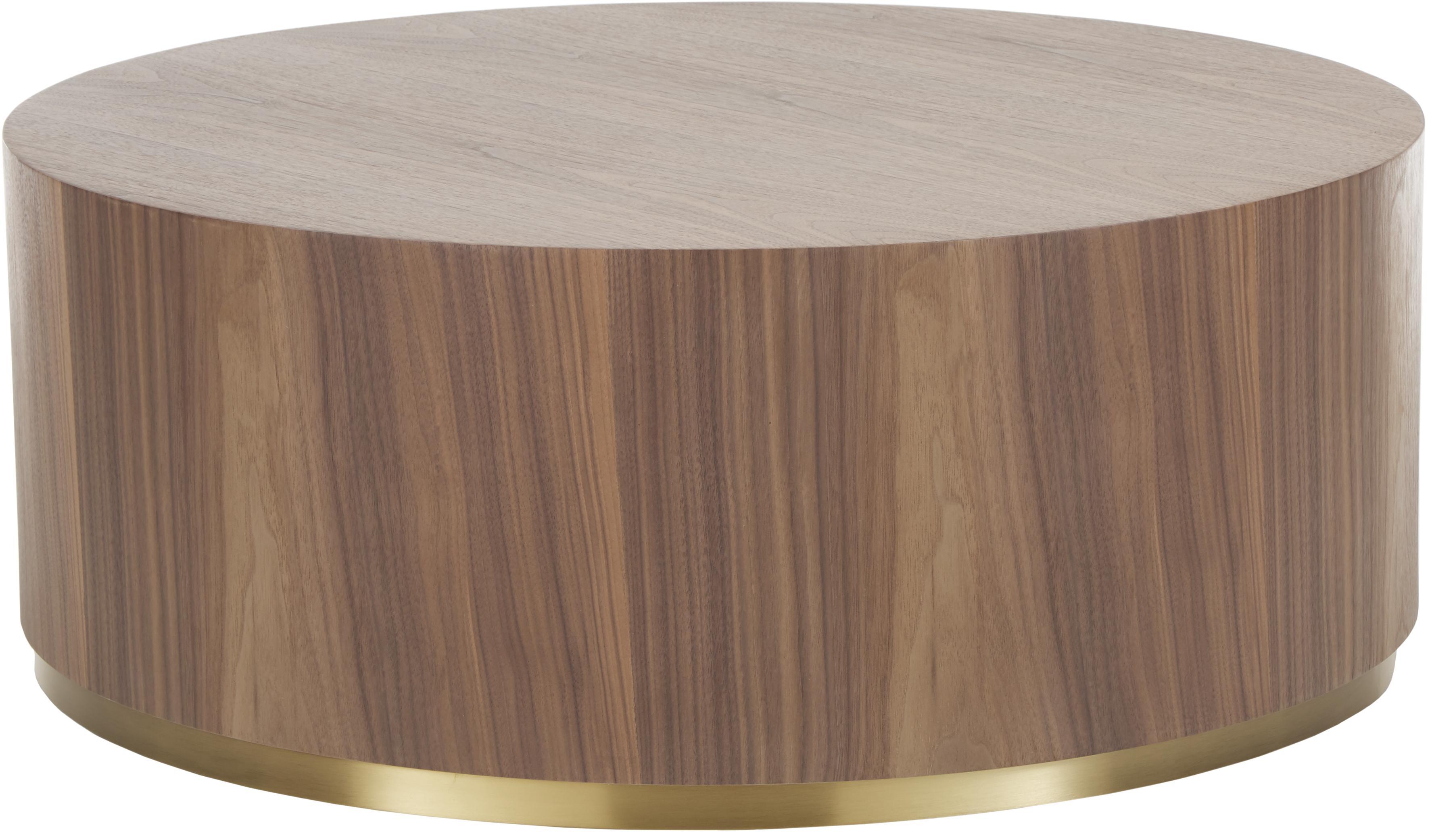 Grosser Couchtisch Clarice in Walnussfarben, Korpus: Mitteldichte Holzfaserpla, Korpus: WalnussholzfurnierFuss: Goldfarben, glänzend gebürstet, Ø 90 x H 35 cm