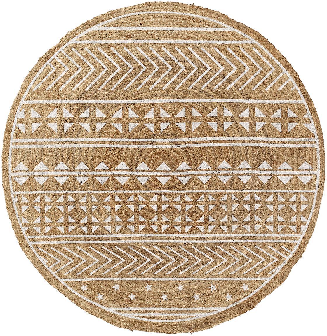 Runder Teppich Cecile mit weißem Ethno Print, Naturfaser, Beige, Weiß, Ø 100 cm (Größe XS)