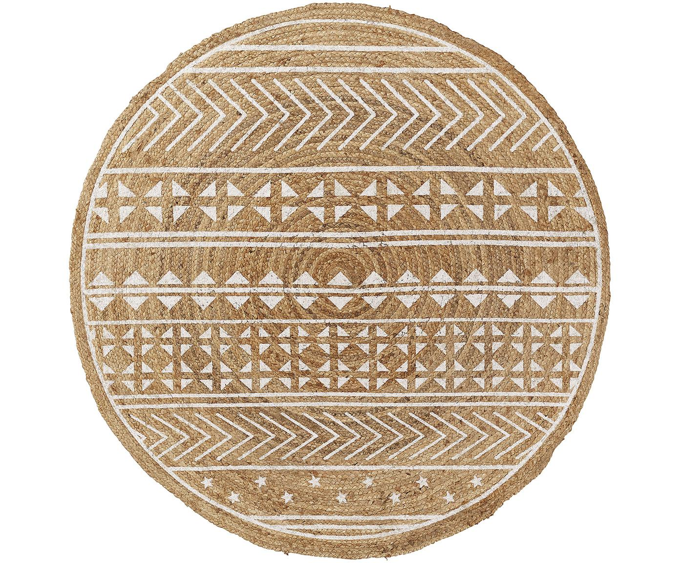 Runder Teppich Cecile mit weissem Ethno Print, Naturfaser, Beige, Weiss, Ø 100 cm (Grösse XS)