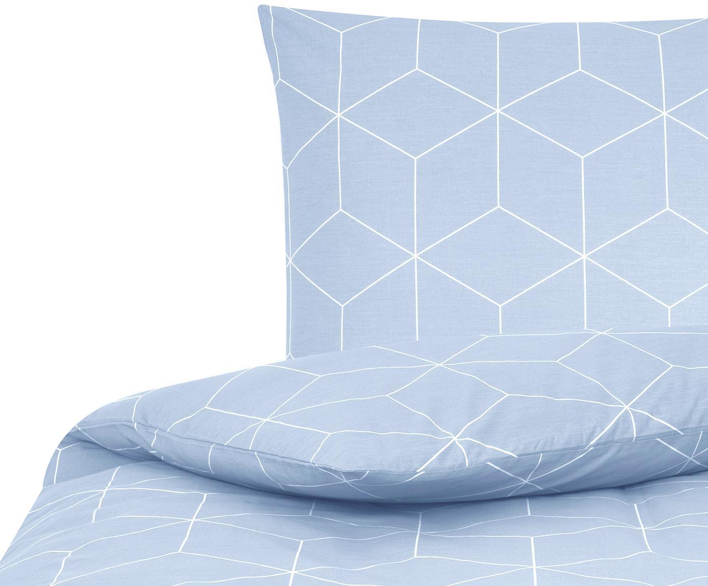 Baumwoll-Bettwäsche Lynn mit grafischem Muster, Webart: Renforcé Fadendichte 144 , Hellblau, Cremeweiß, 135 x 200 cm + 1 Kissen 80 x 80 cm